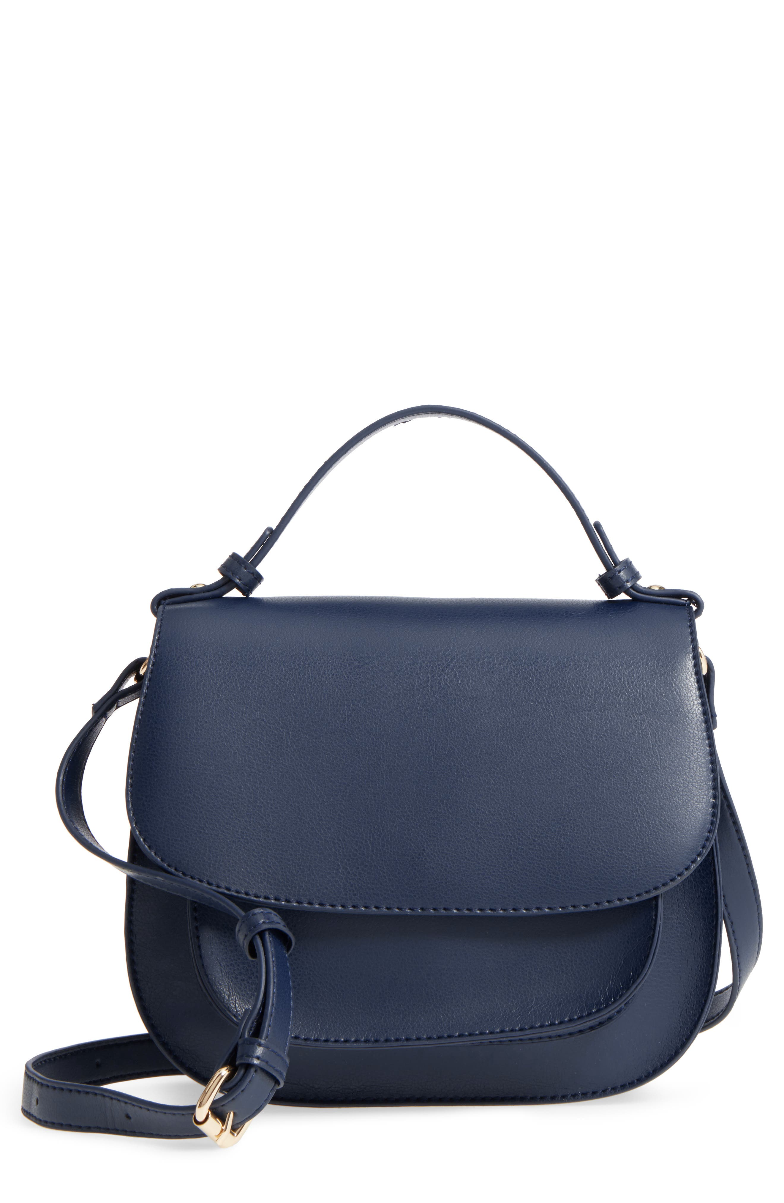 Faux Leather Crossbody Bag,                         Main,                         color, Midnight