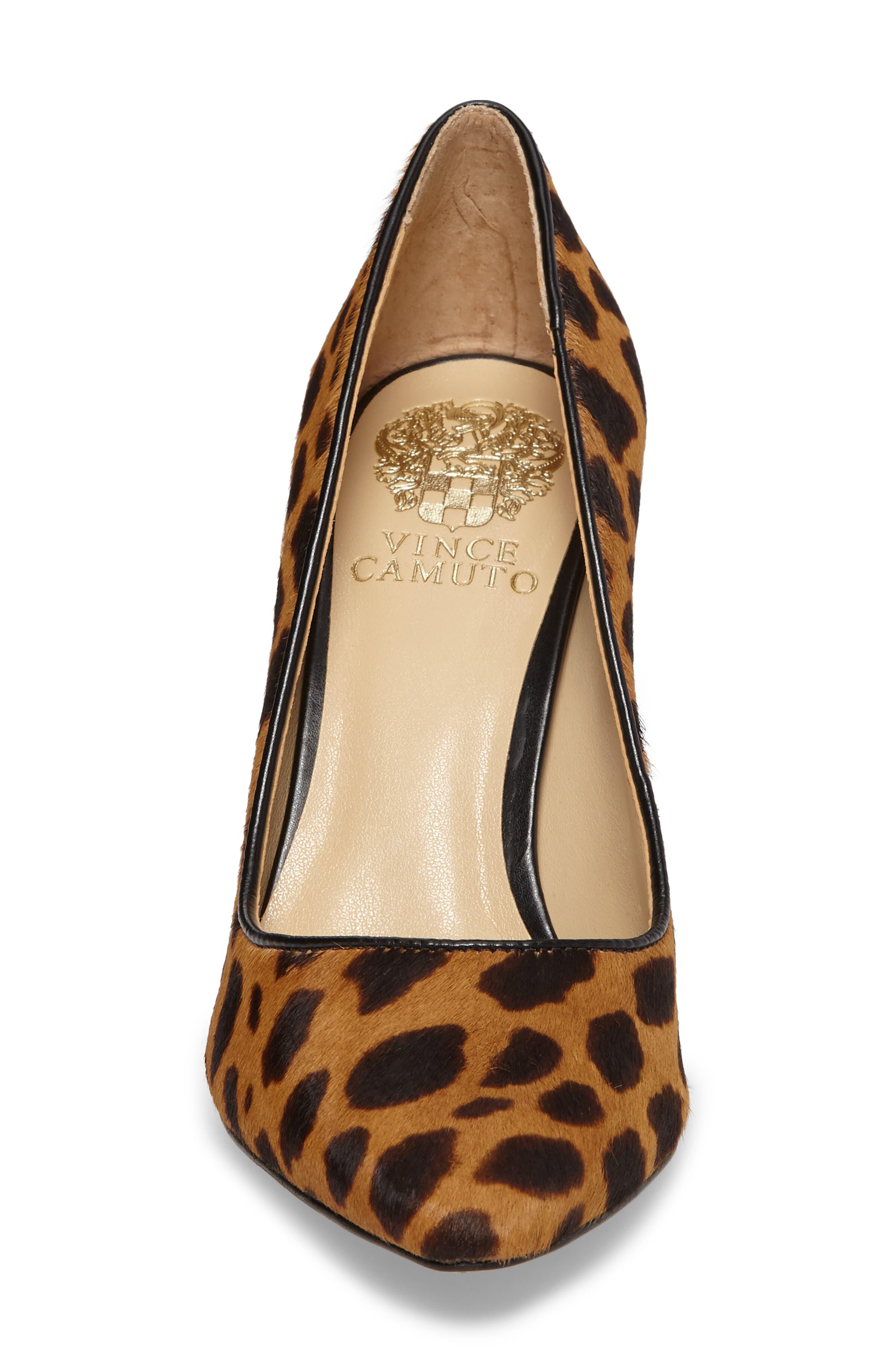 Talise Genuine Calf Hair Pointy Toe Pump,                             Alternate thumbnail 5, color,                             Leopard Brown