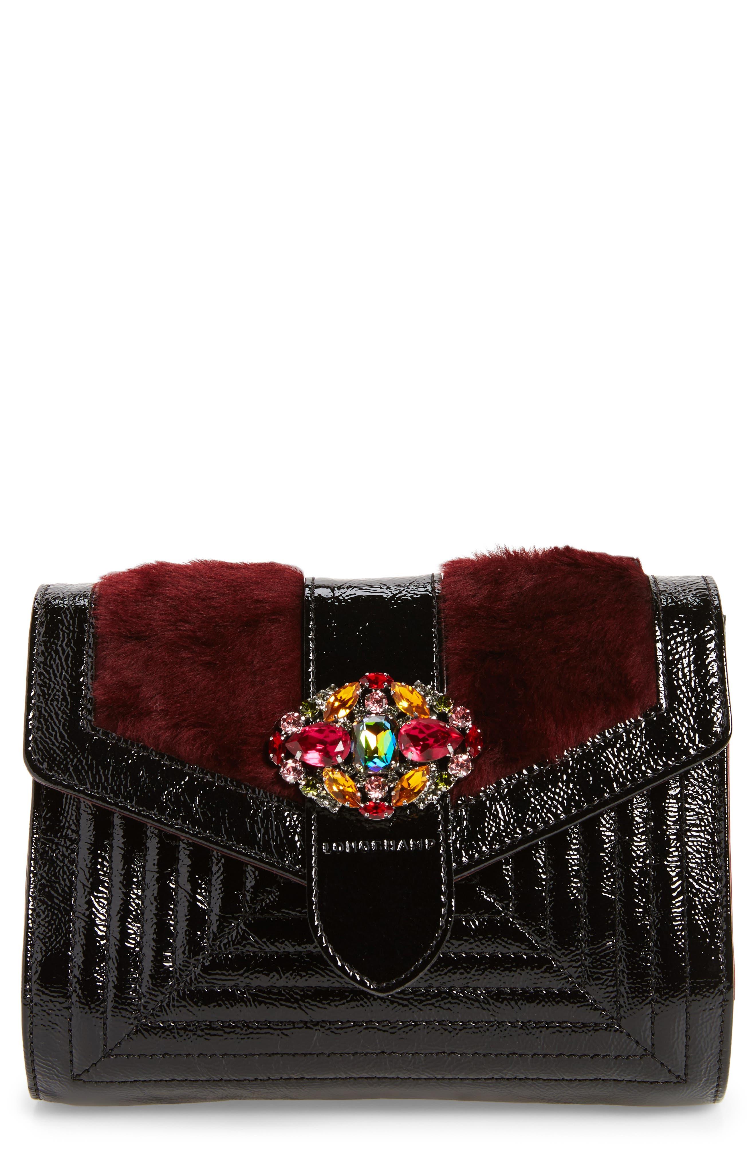 La Baronne Genuine Shearling Trim Leather Clutch,                         Main,                         color, Red Lacquer