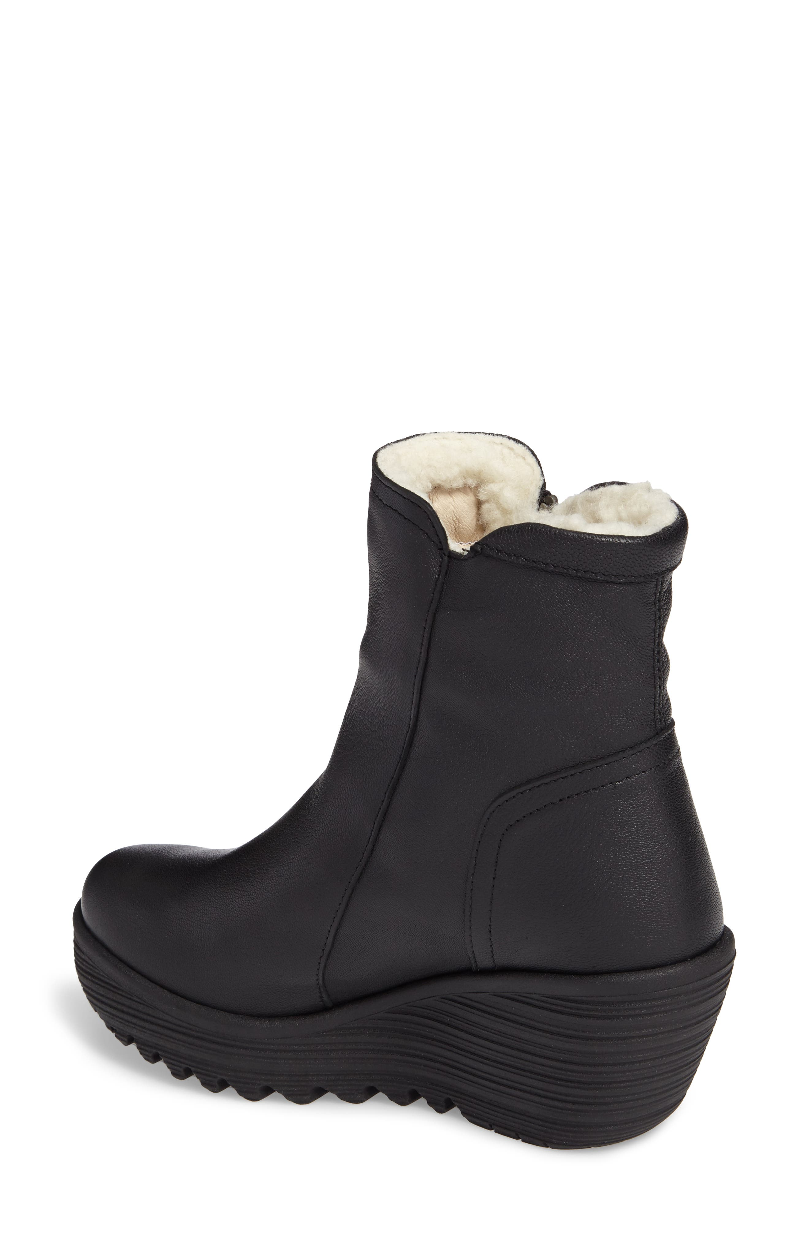 Waterproof Gore-Tex<sup>®</sup> Wedge Boot,                             Alternate thumbnail 2, color,                             Black Leather