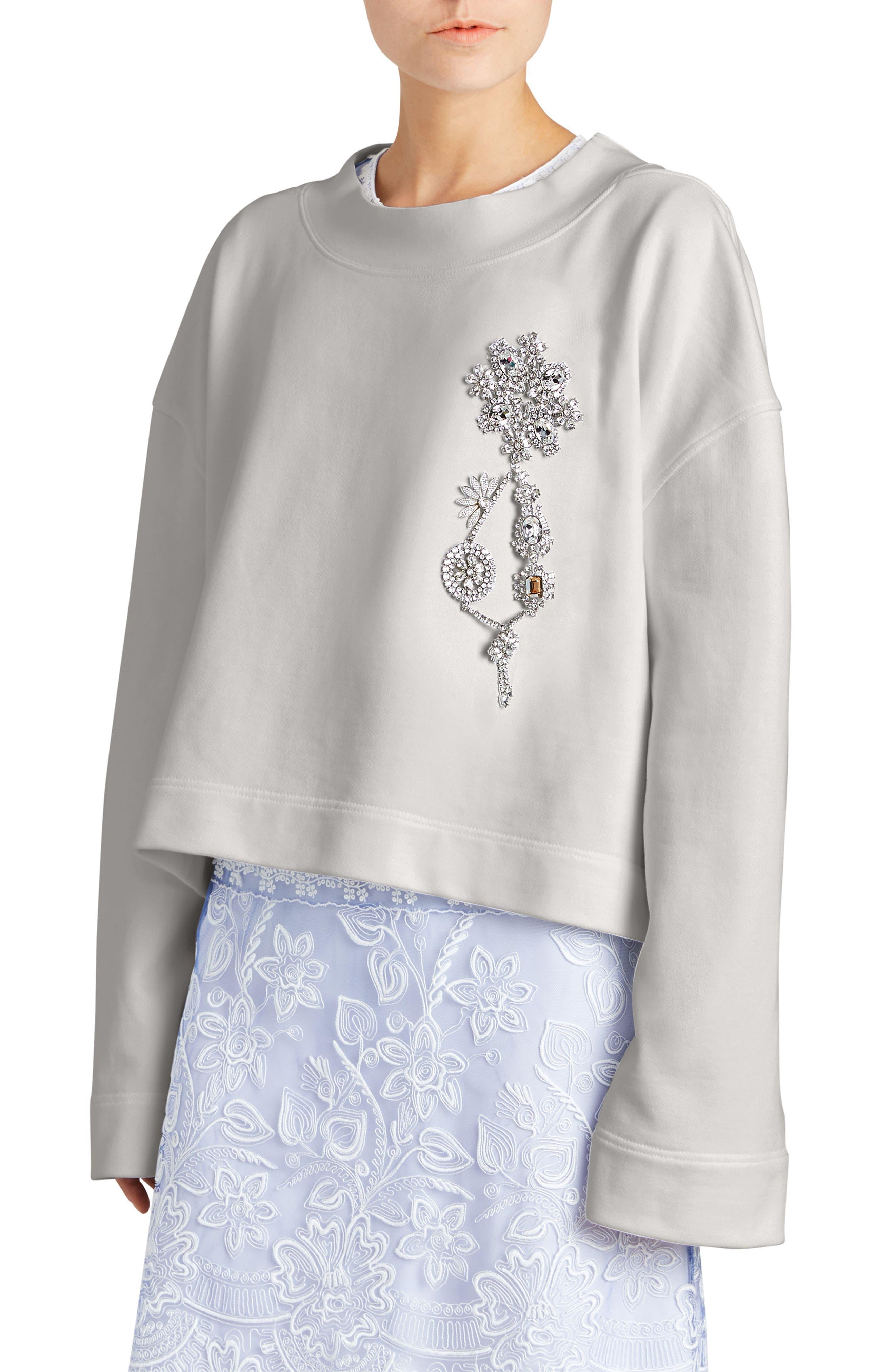 Burberry Brooch Detail Cotton Sweatshirt