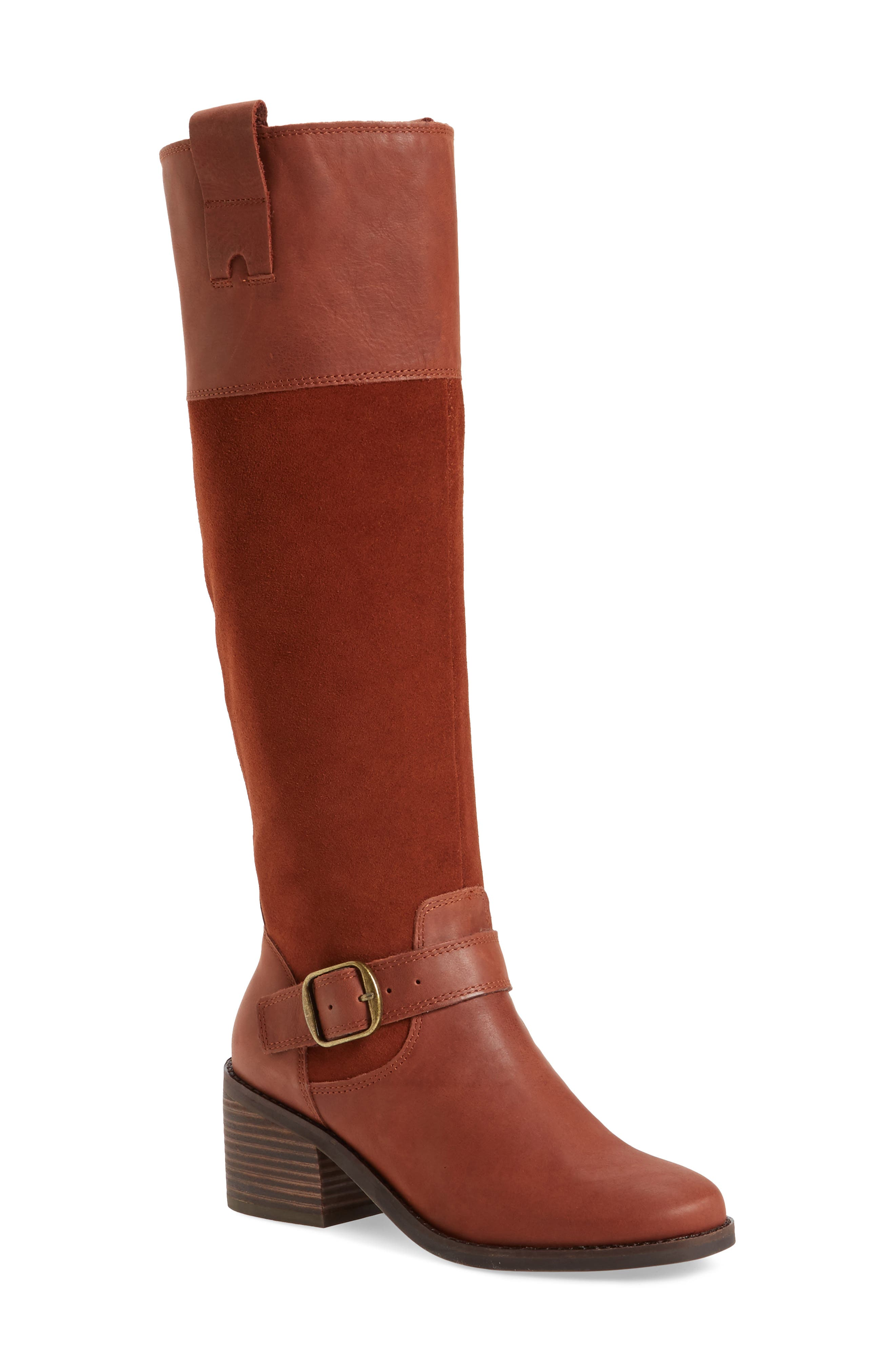 Kailan Ankle Strap Tall Boot,                         Main,                         color, Rye Leather