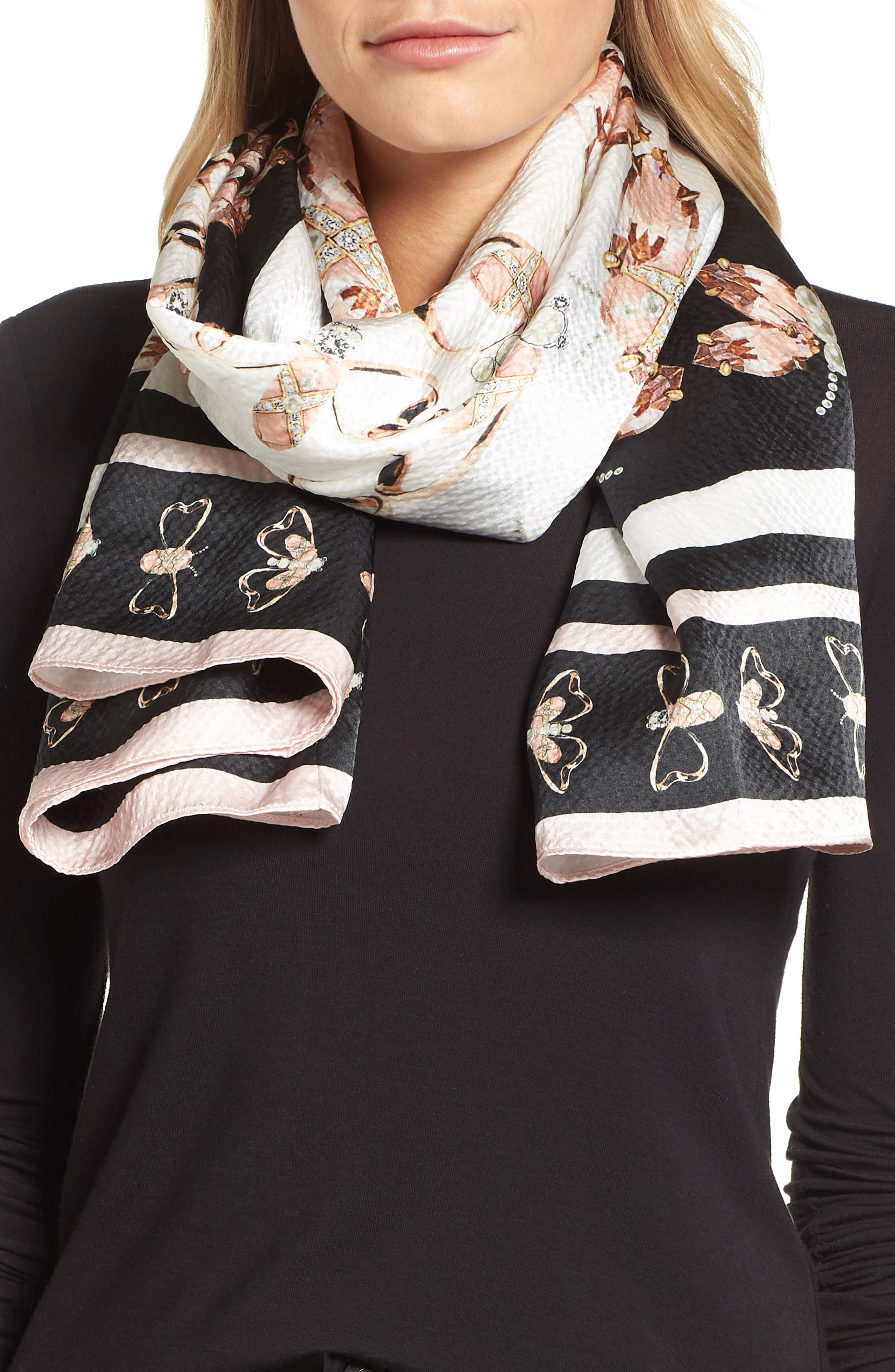 Queen Bee Silk Cape Scarf,                             Alternate thumbnail 4, color,                             00-Black
