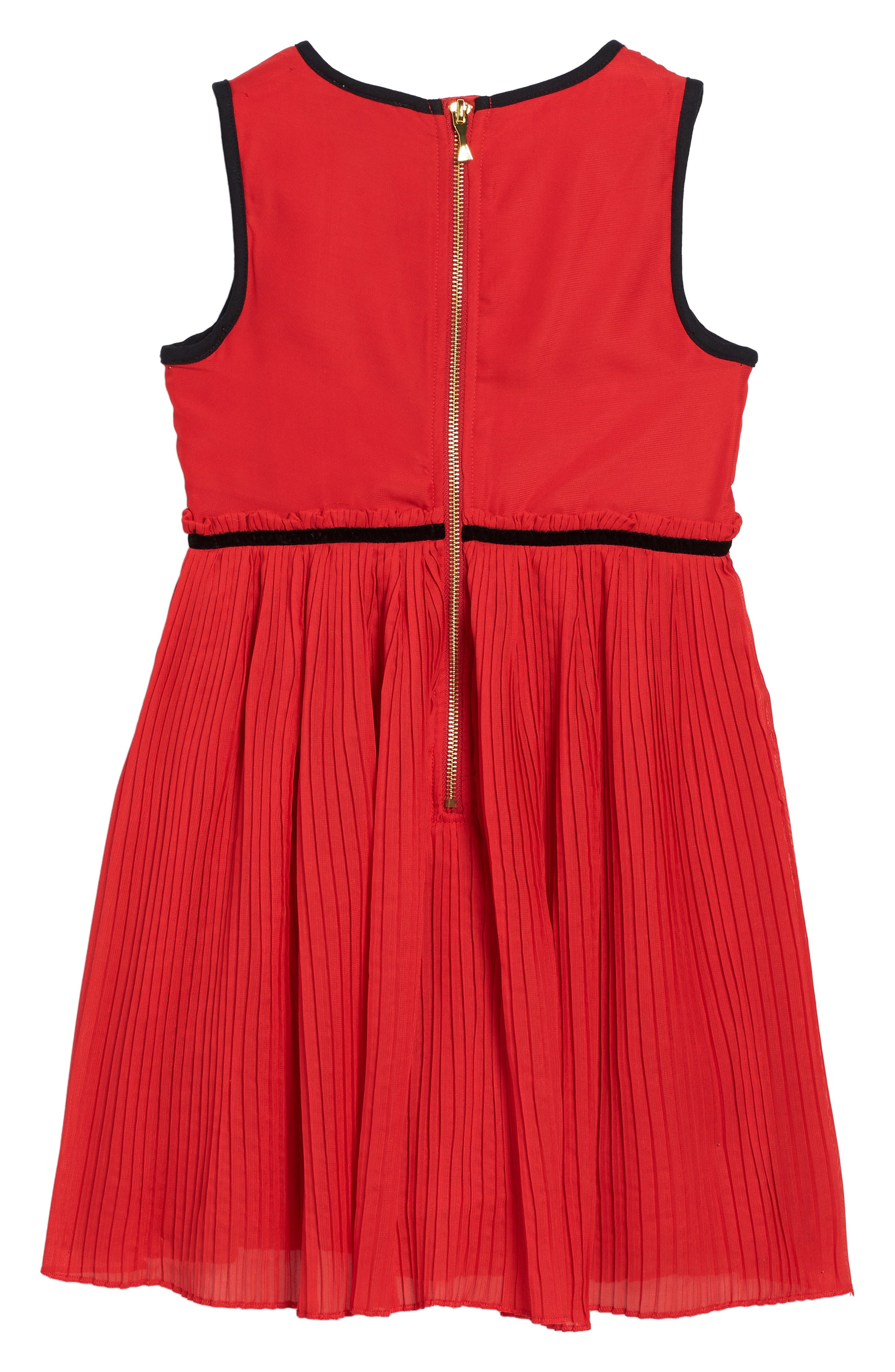 pleated chiffon party dress,                             Alternate thumbnail 2, color,                             Studio Red