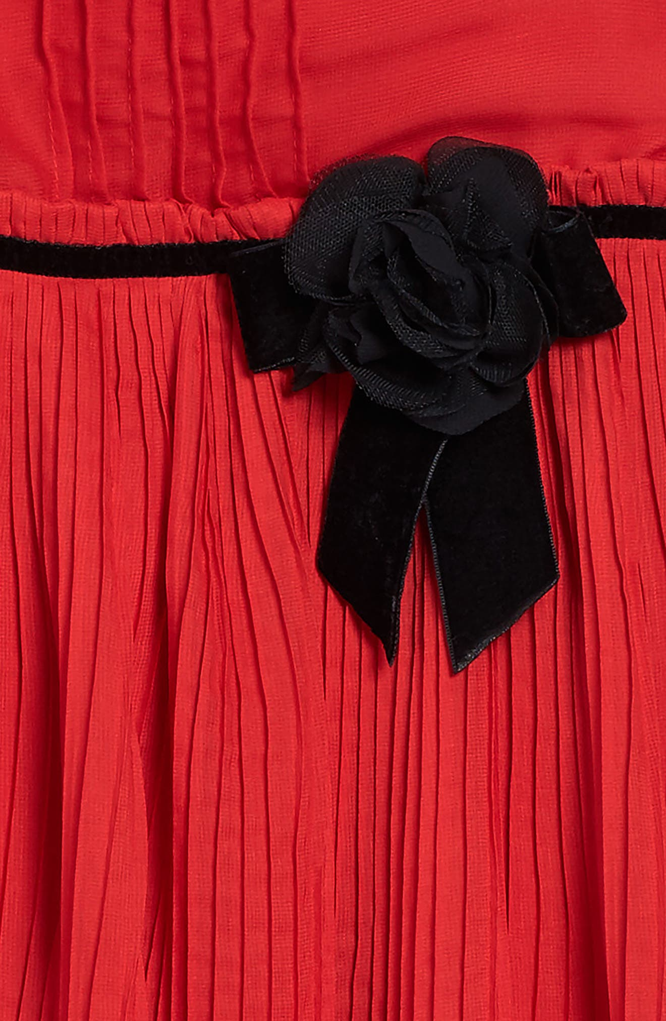 pleated chiffon party dress,                             Alternate thumbnail 3, color,                             Studio Red