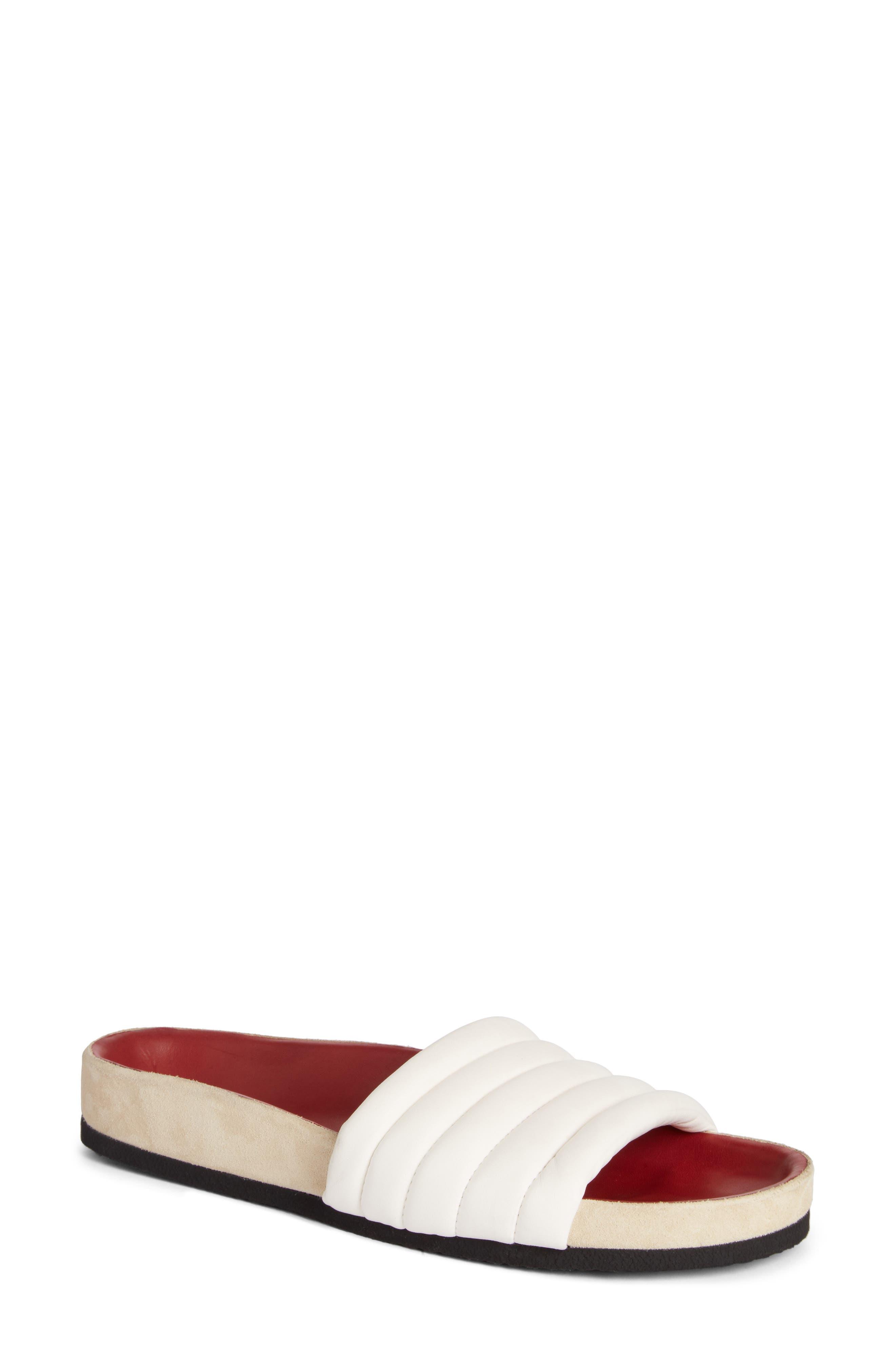 Hellea Slide Sandal,                             Main thumbnail 1, color,                             White