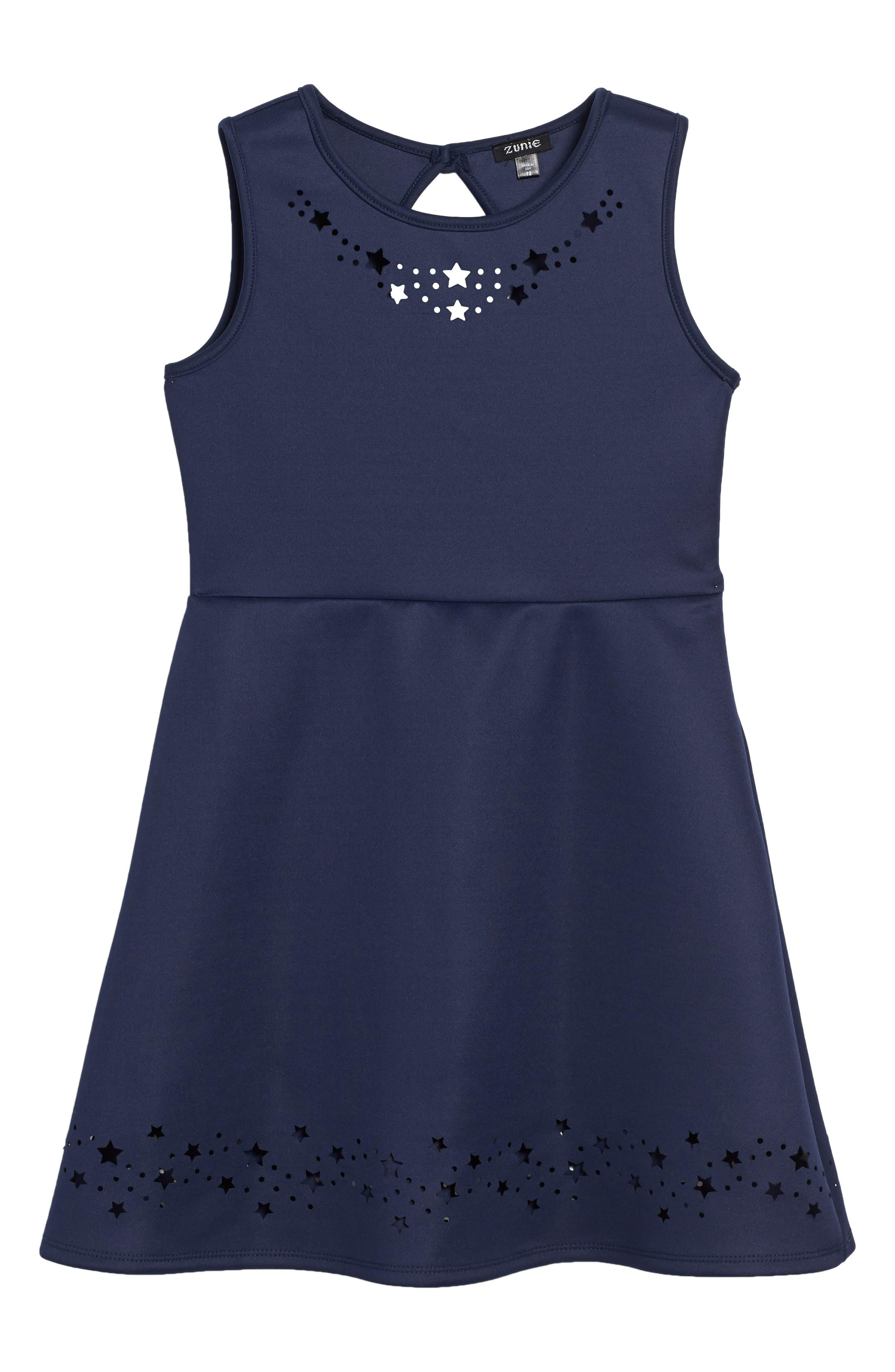 Main Image - Zunie Laser Star Cutout Scuba Tank Dress (Toddler Girls, Little Girls & Big Girls)