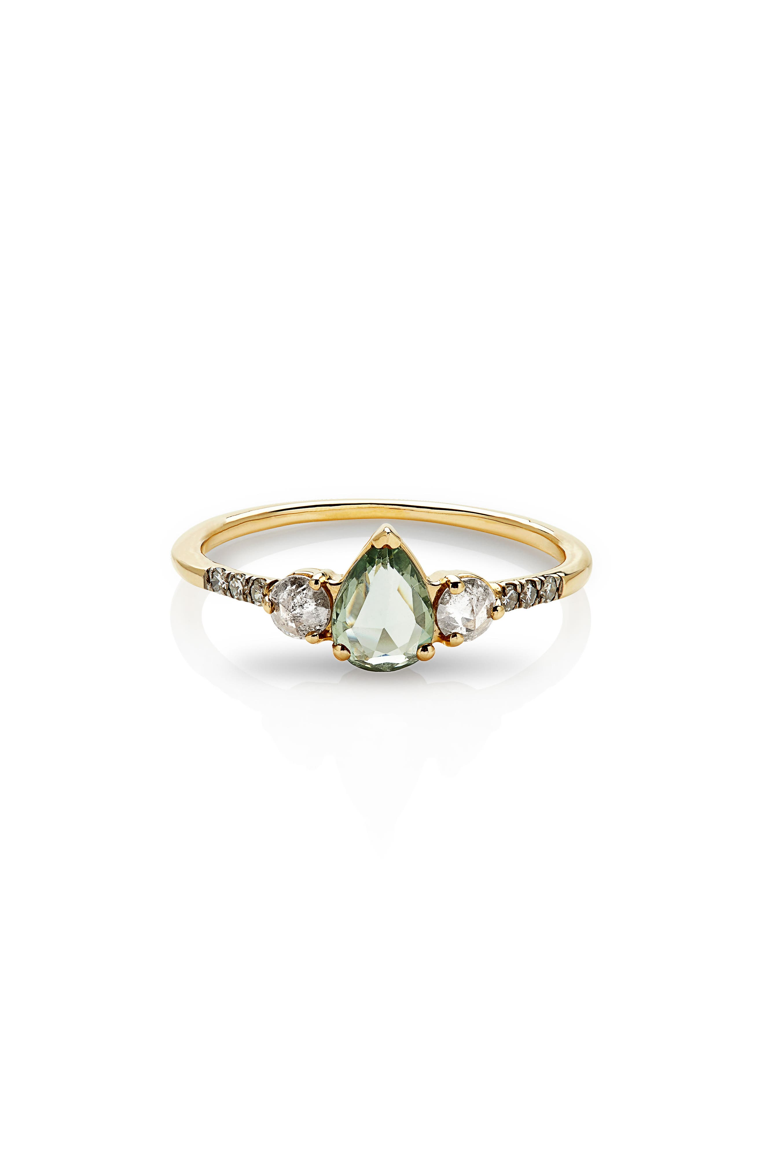 Radiance Sapphire & Diamond Ring,                             Main thumbnail 1, color,                             Yellow Gold/ Green Sapphire