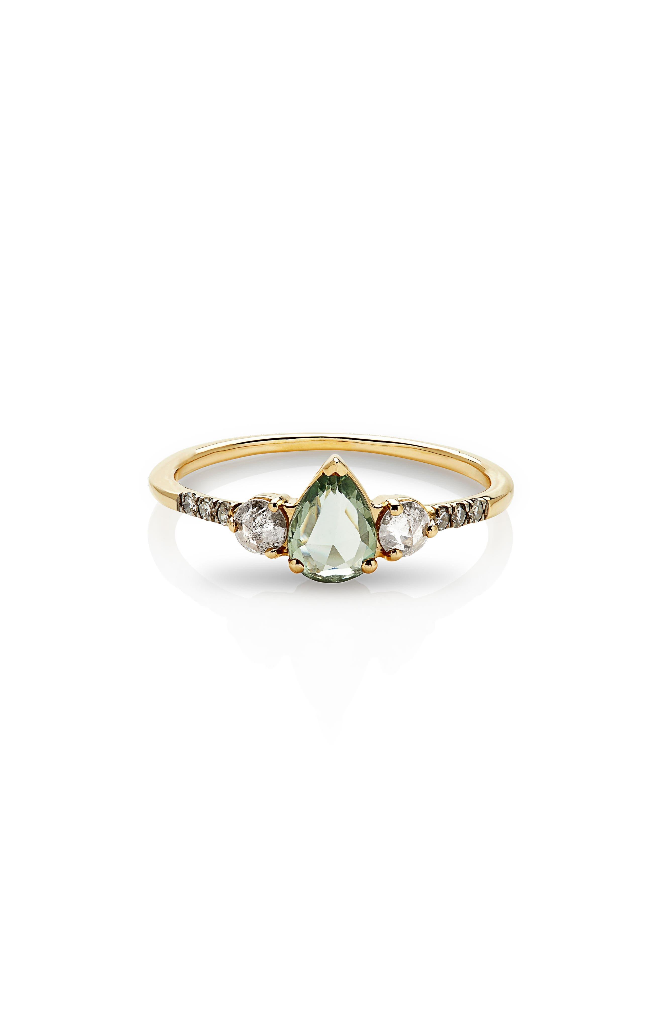 Radiance Sapphire & Diamond Ring,                         Main,                         color, Yellow Gold/ Green Sapphire