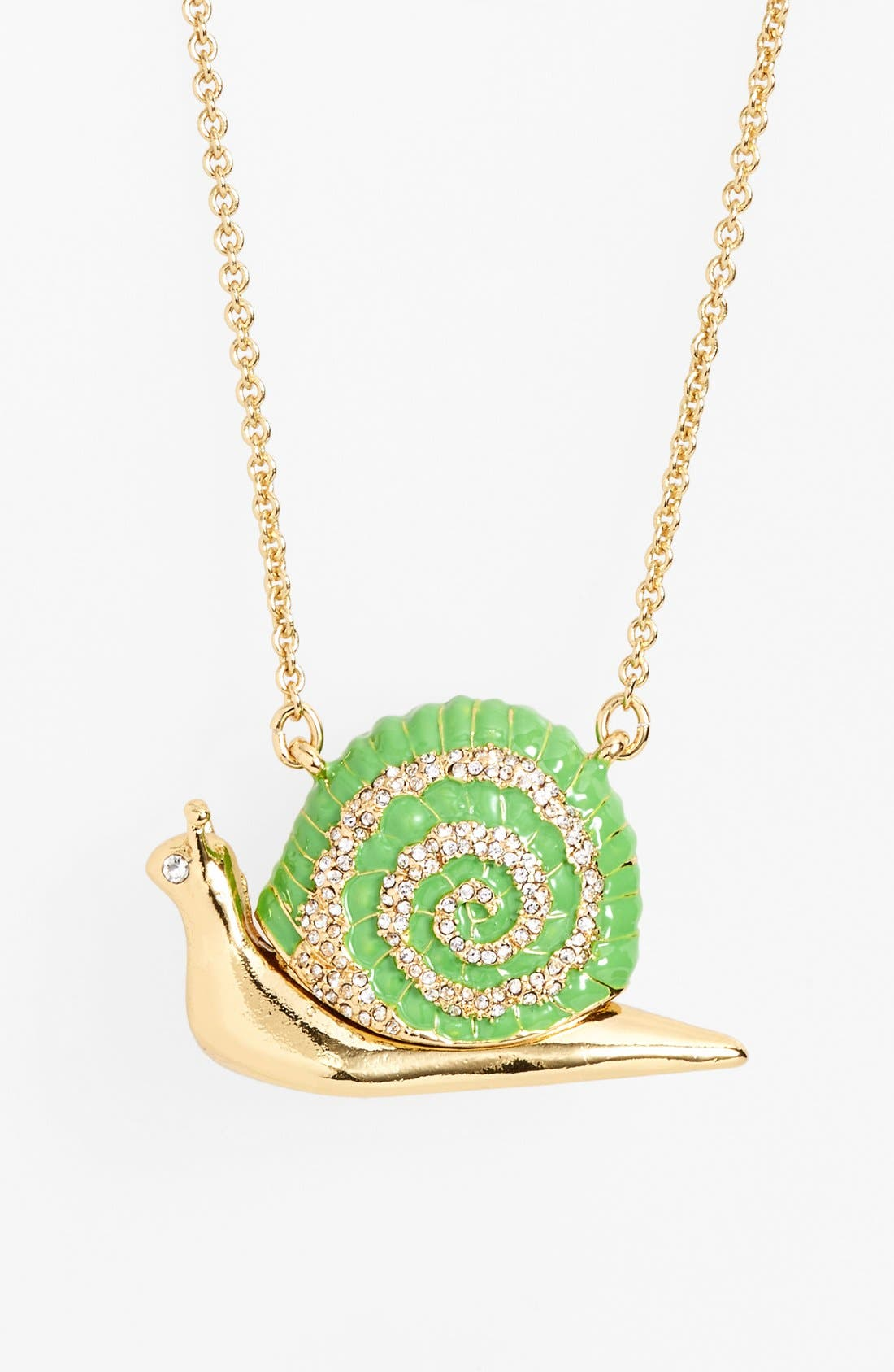 'lawn party' long snail pendant necklace,                             Main thumbnail 1, color,                             Green Multi