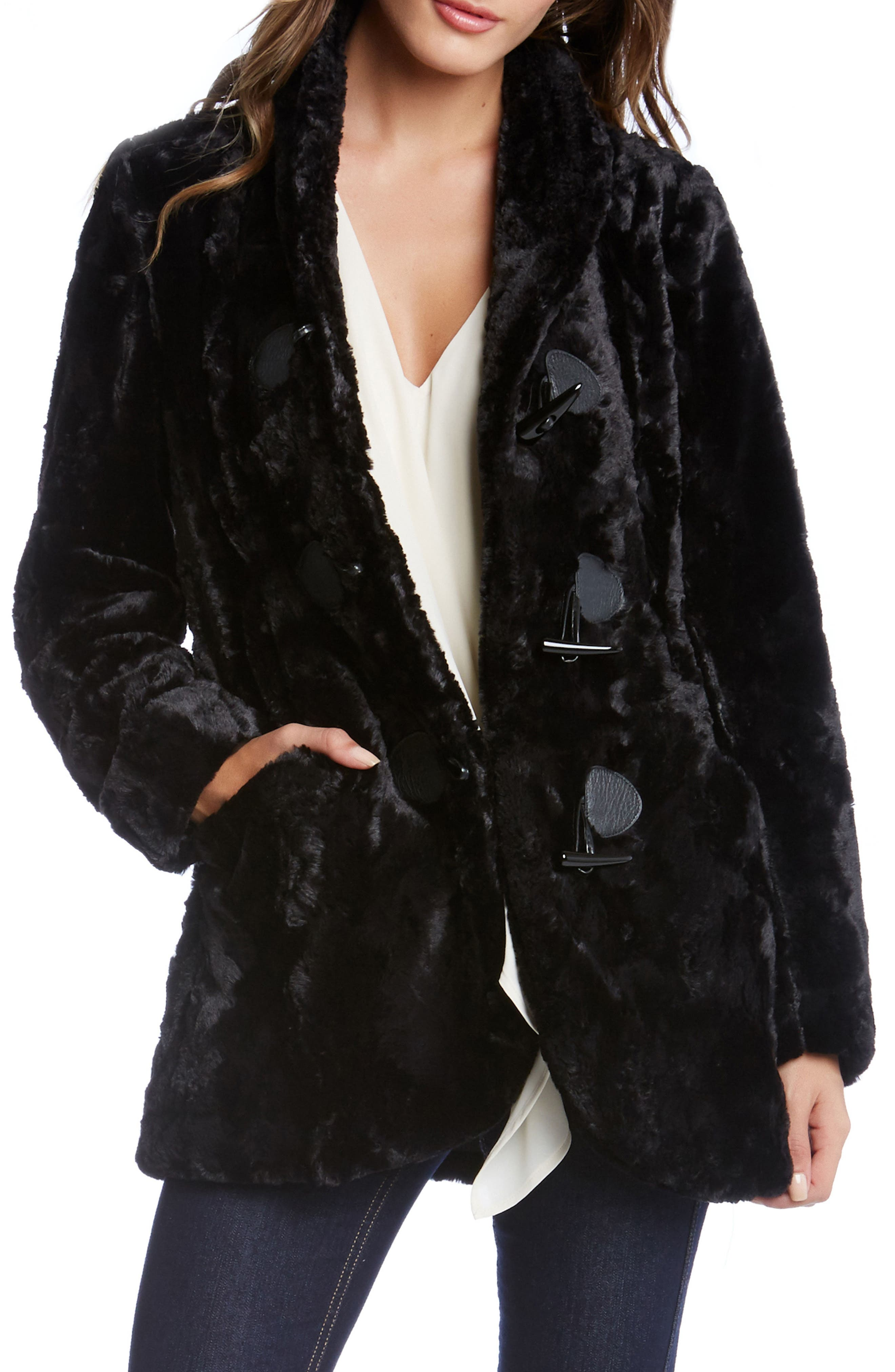 Alternate Image 1 Selected - Karen Kane Faux Fur Toggle Jacket