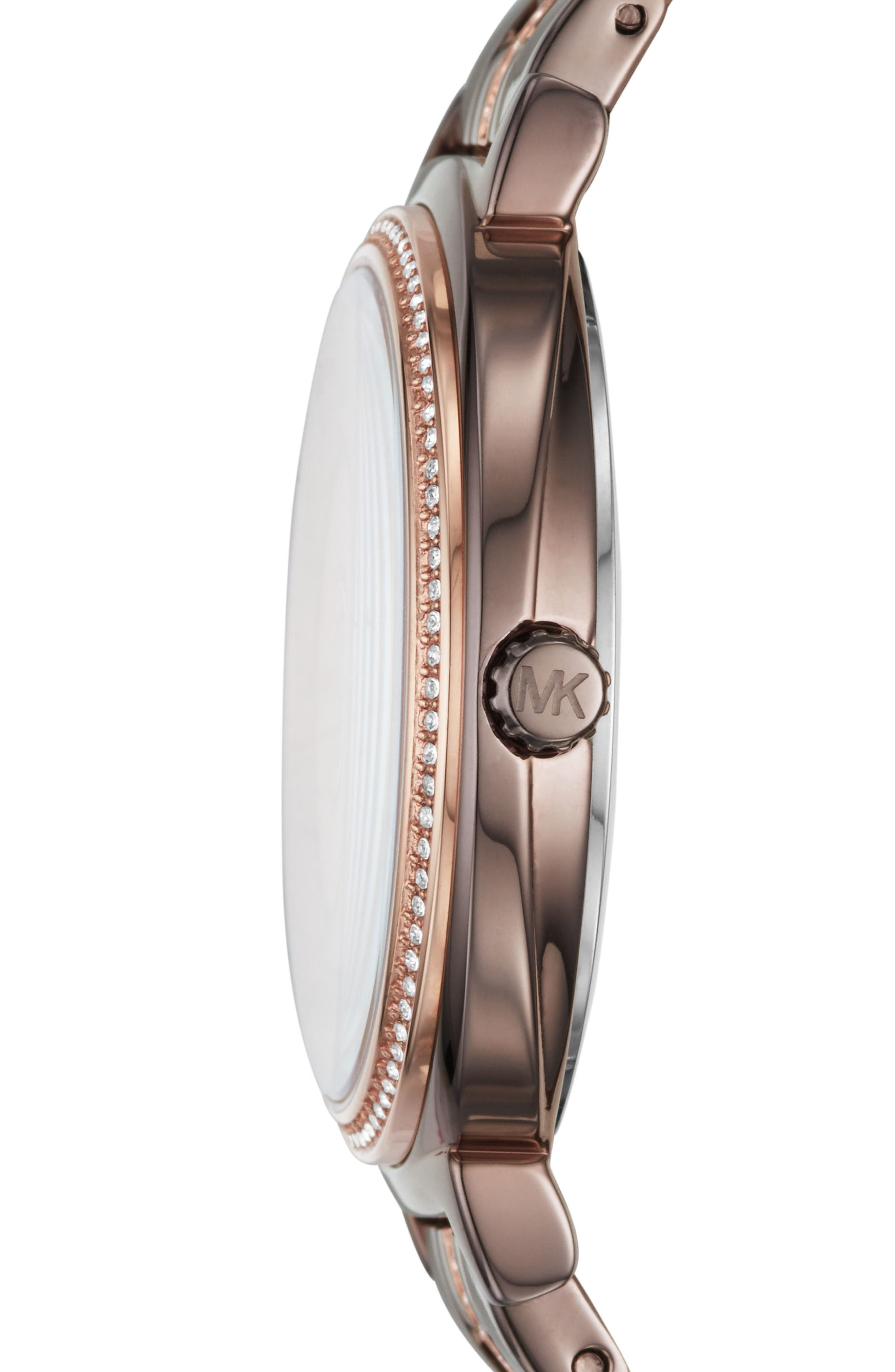 Cinthia Crystal Bracelet Watch, 33mm,                             Alternate thumbnail 2, color,                             Brown/ Rose Gold