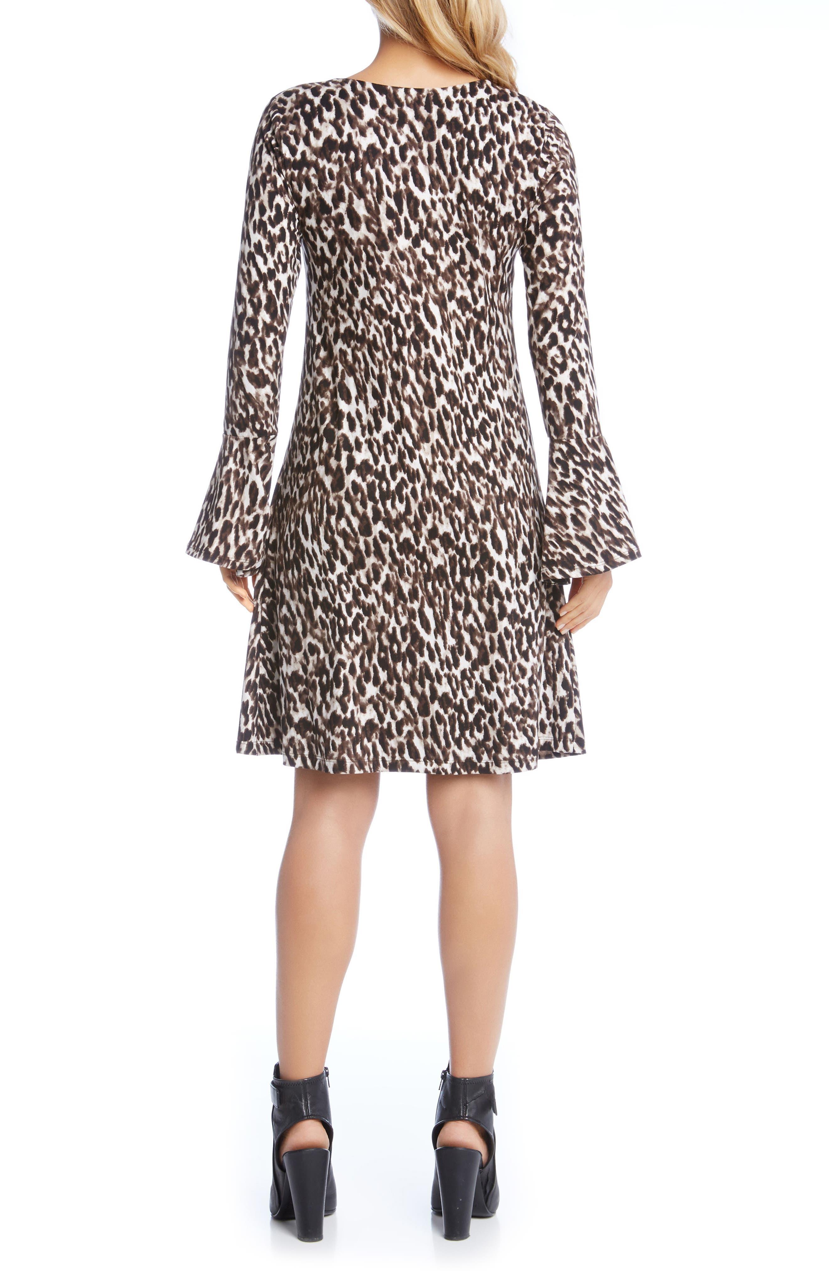 Bell Sleeve Brushed Knit Dress,                             Alternate thumbnail 2, color,                             Leopard