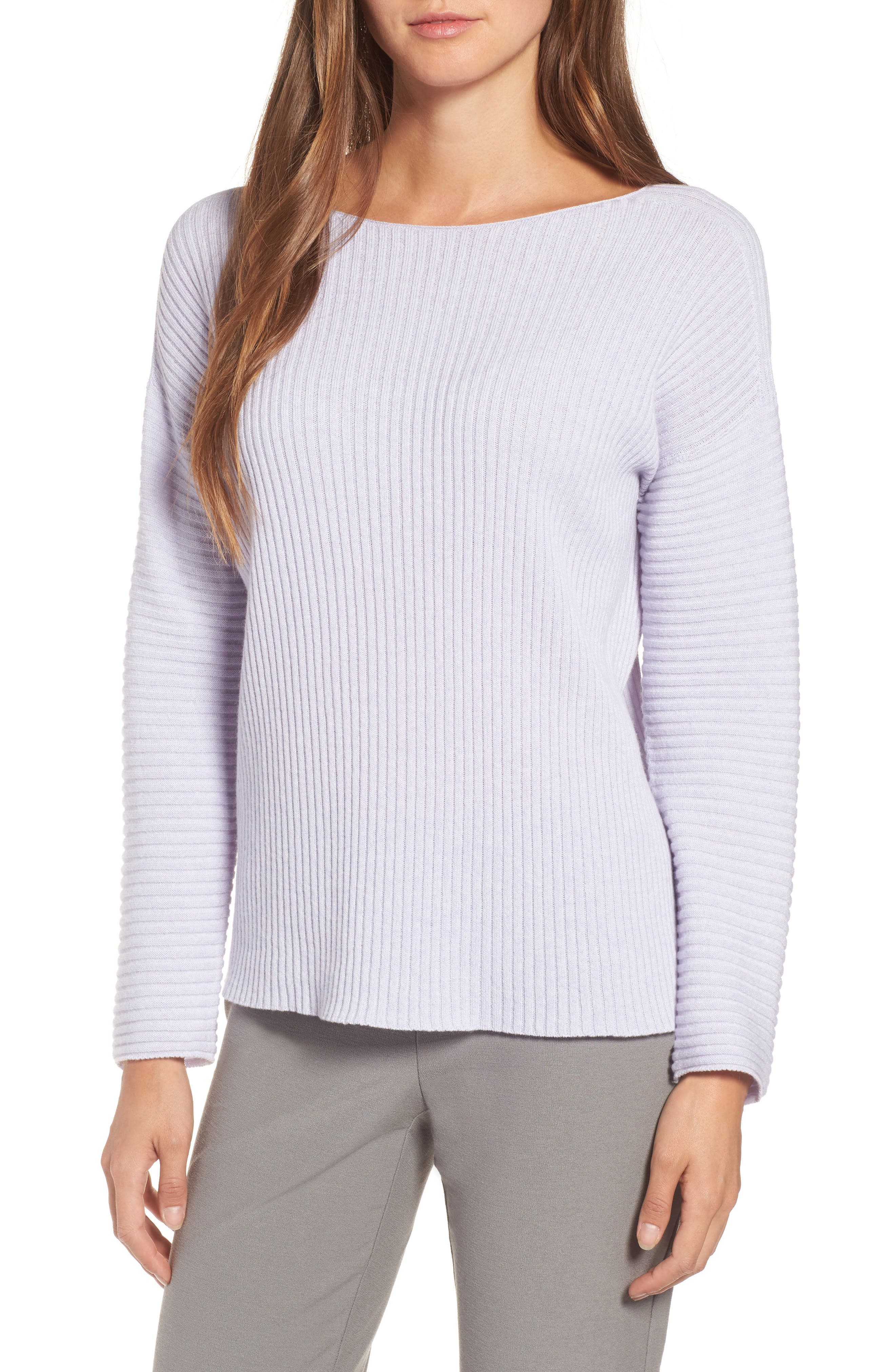 Ribbed Cashmere Sweater,                         Main,                         color, Moon