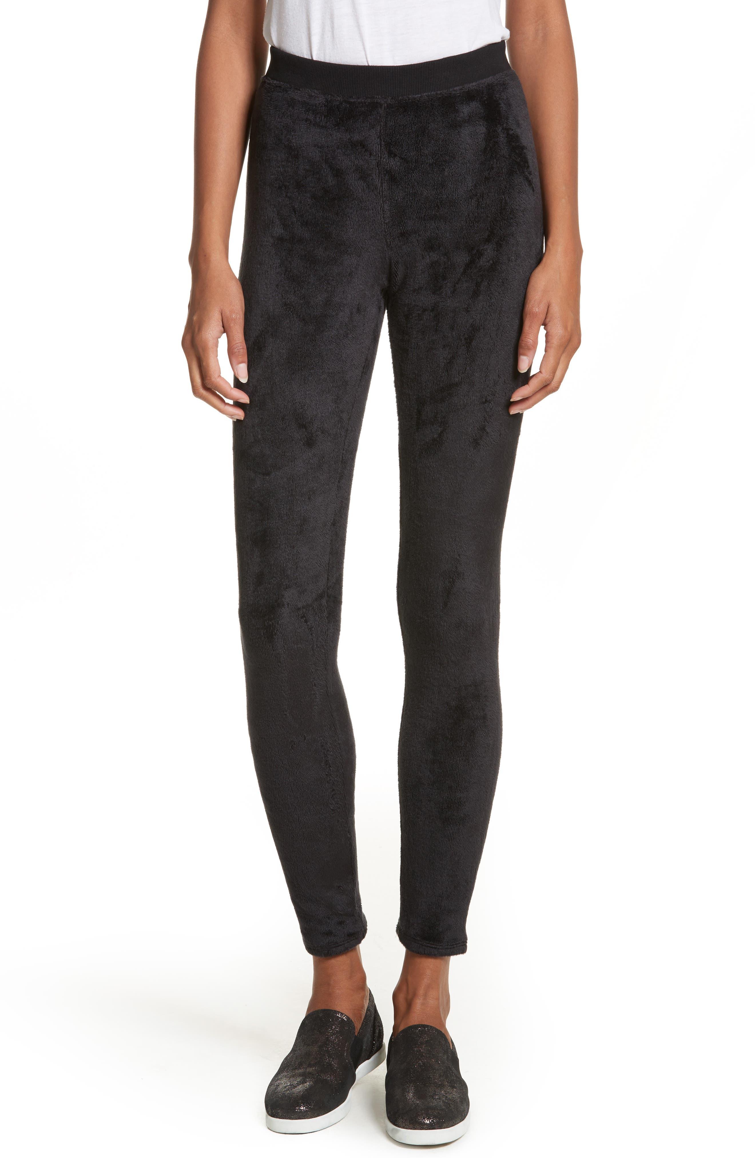 Velour Yoga Leggings,                         Main,                         color, Black