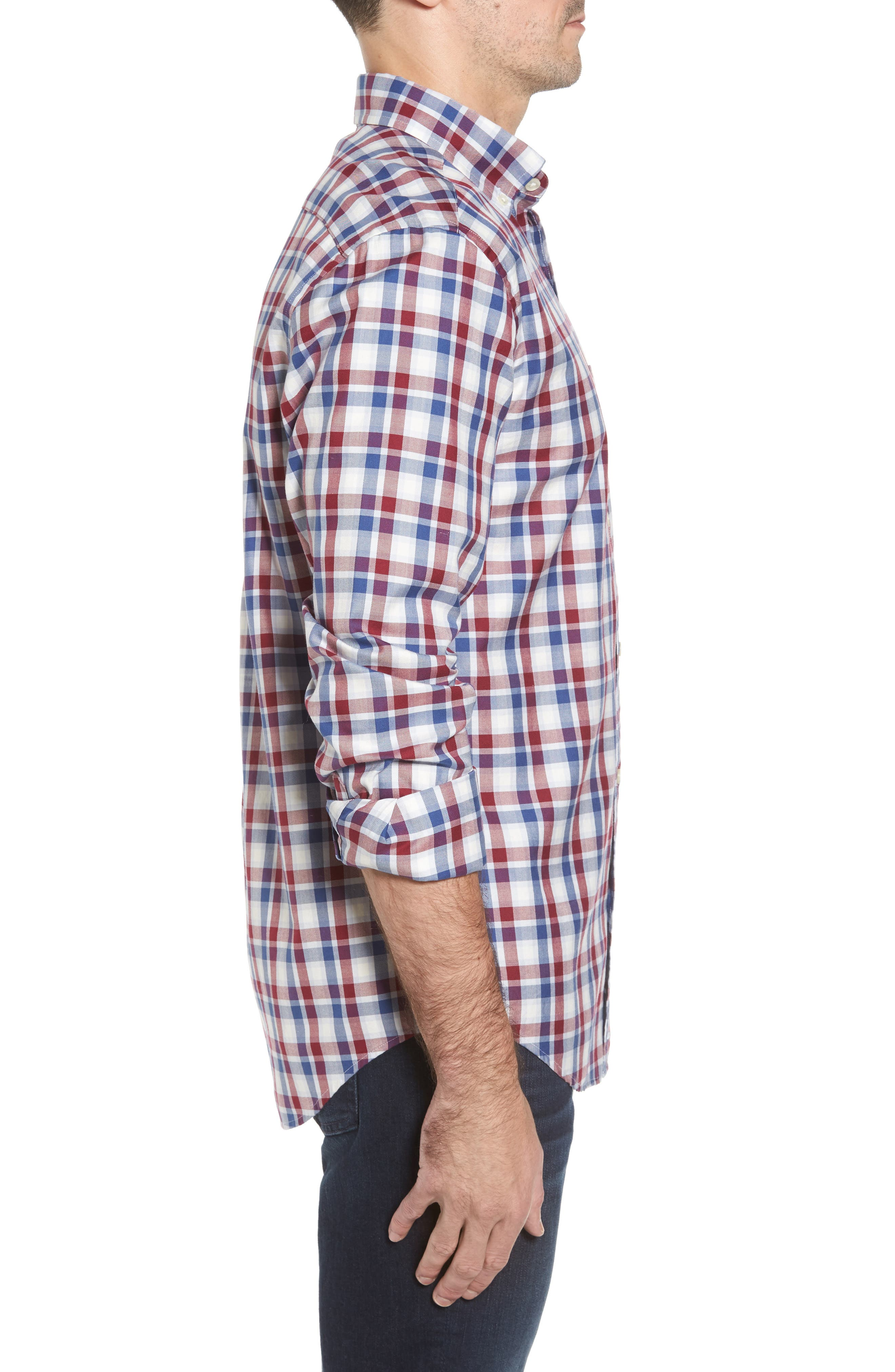 Classic Fit French Quarter Plaid Sport Shirt,                             Alternate thumbnail 3, color,                             Red Wine