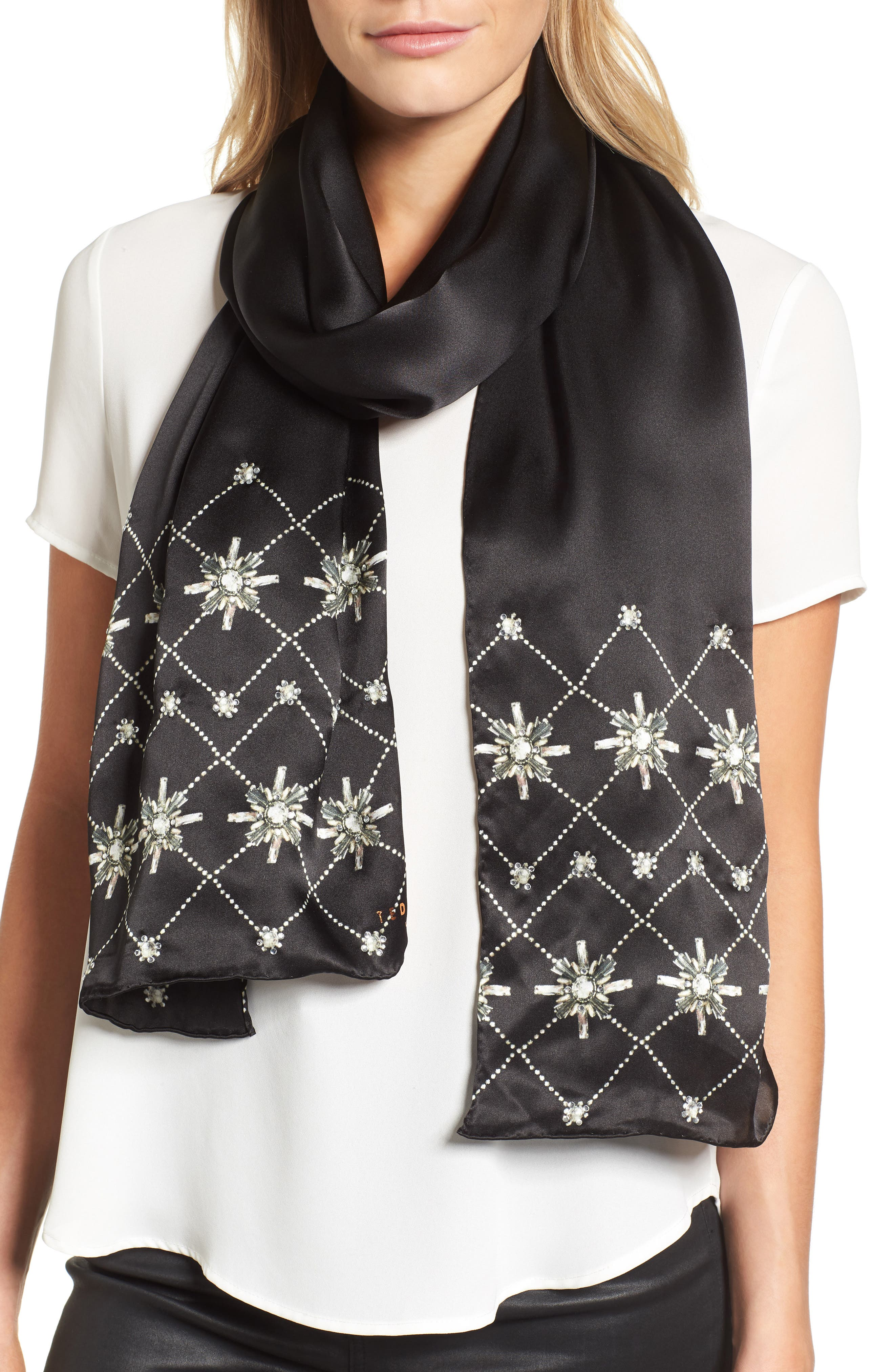 Hot Fix Embellished Skinny Silk Scarf,                             Main thumbnail 1, color,                             00-Black