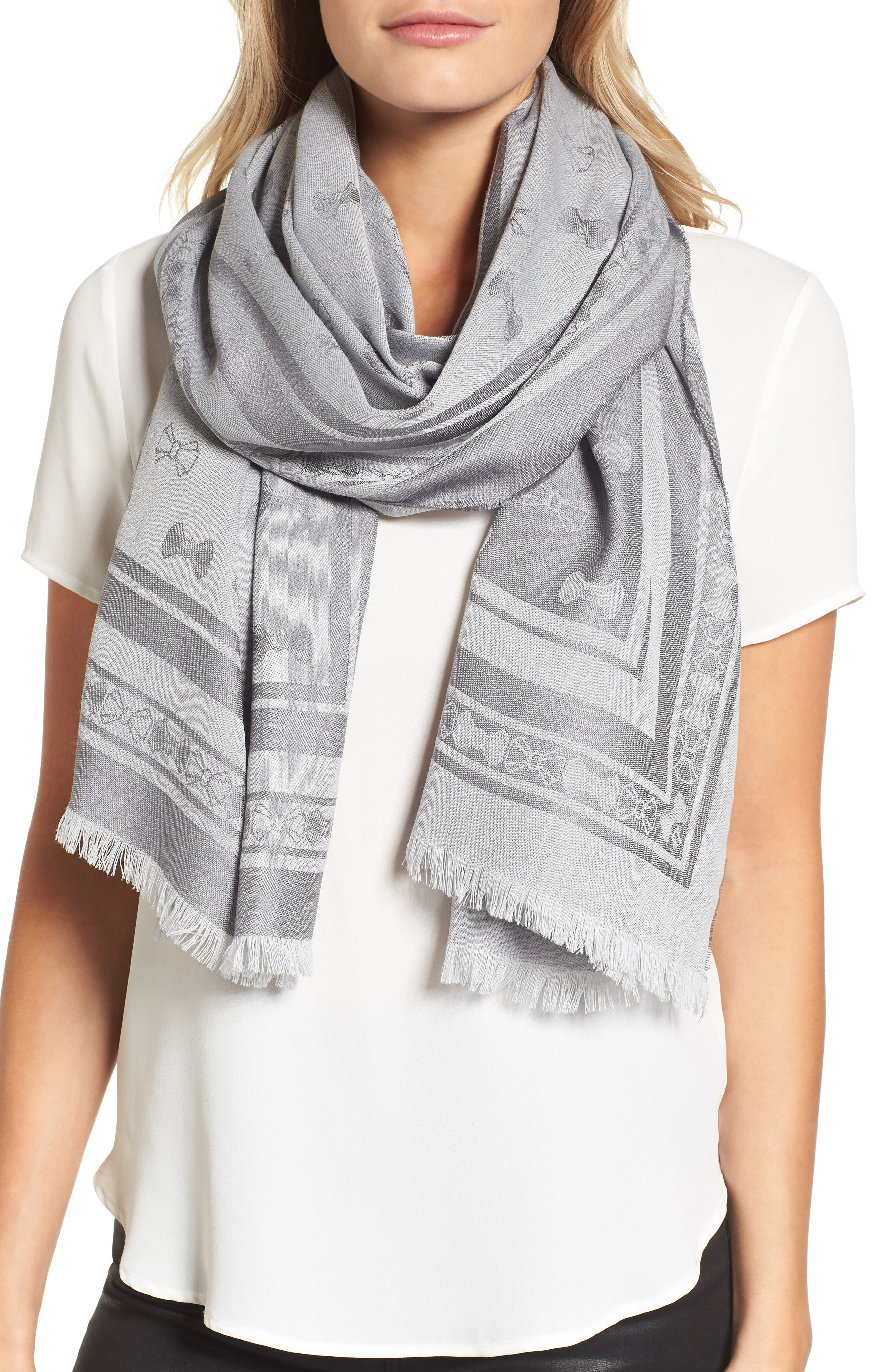 Bow Jacquard Wool & Silk Scarf,                         Main,                         color, Light Grey