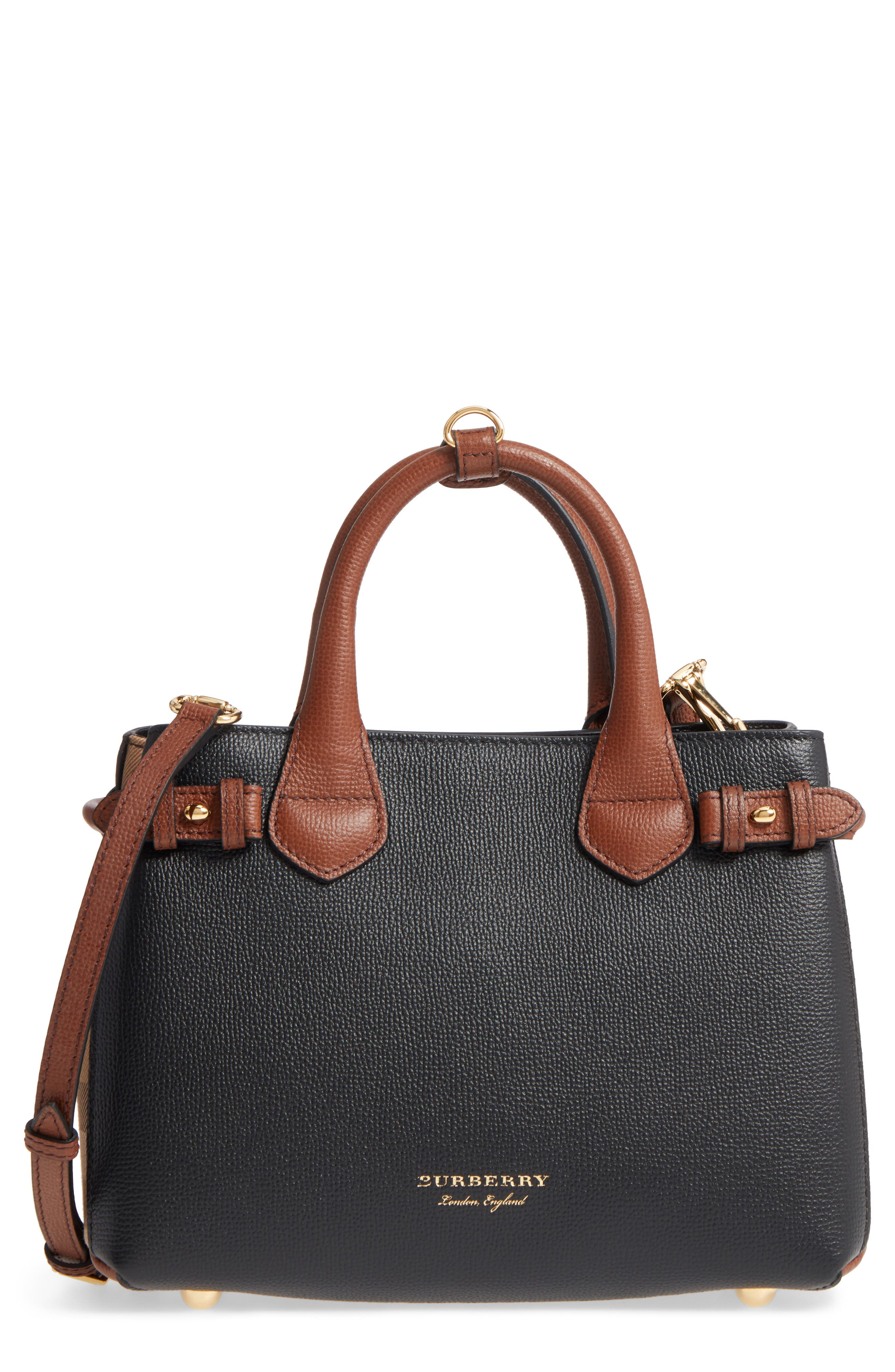 Burberry Small Banner House Check Leather Derby Tote