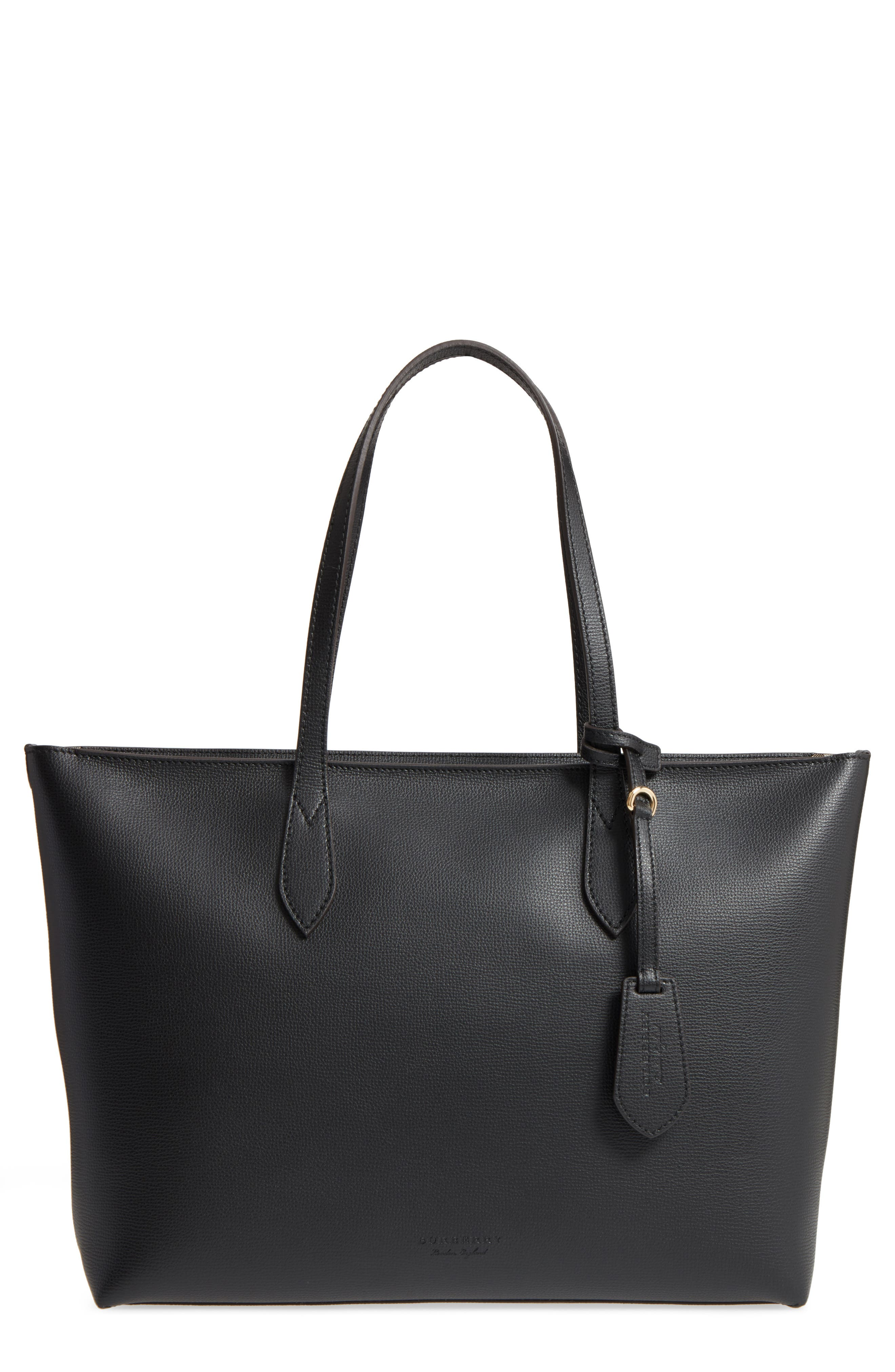 Calfskin Leather Tote,                             Main thumbnail 1, color,                             Black