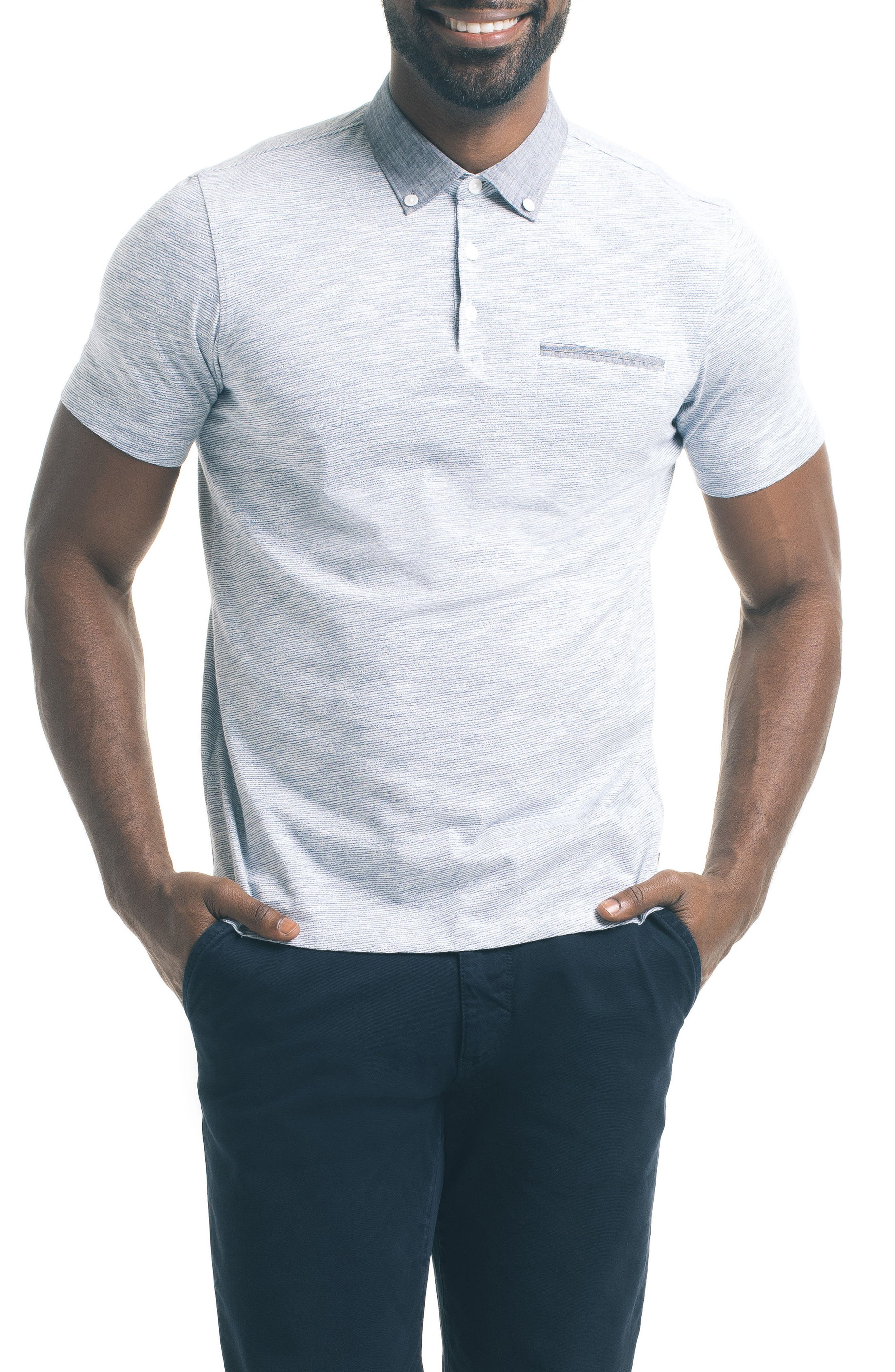 Alternate Image 1 Selected - Good Man Brand Trim Fit Carbon Peach Polo