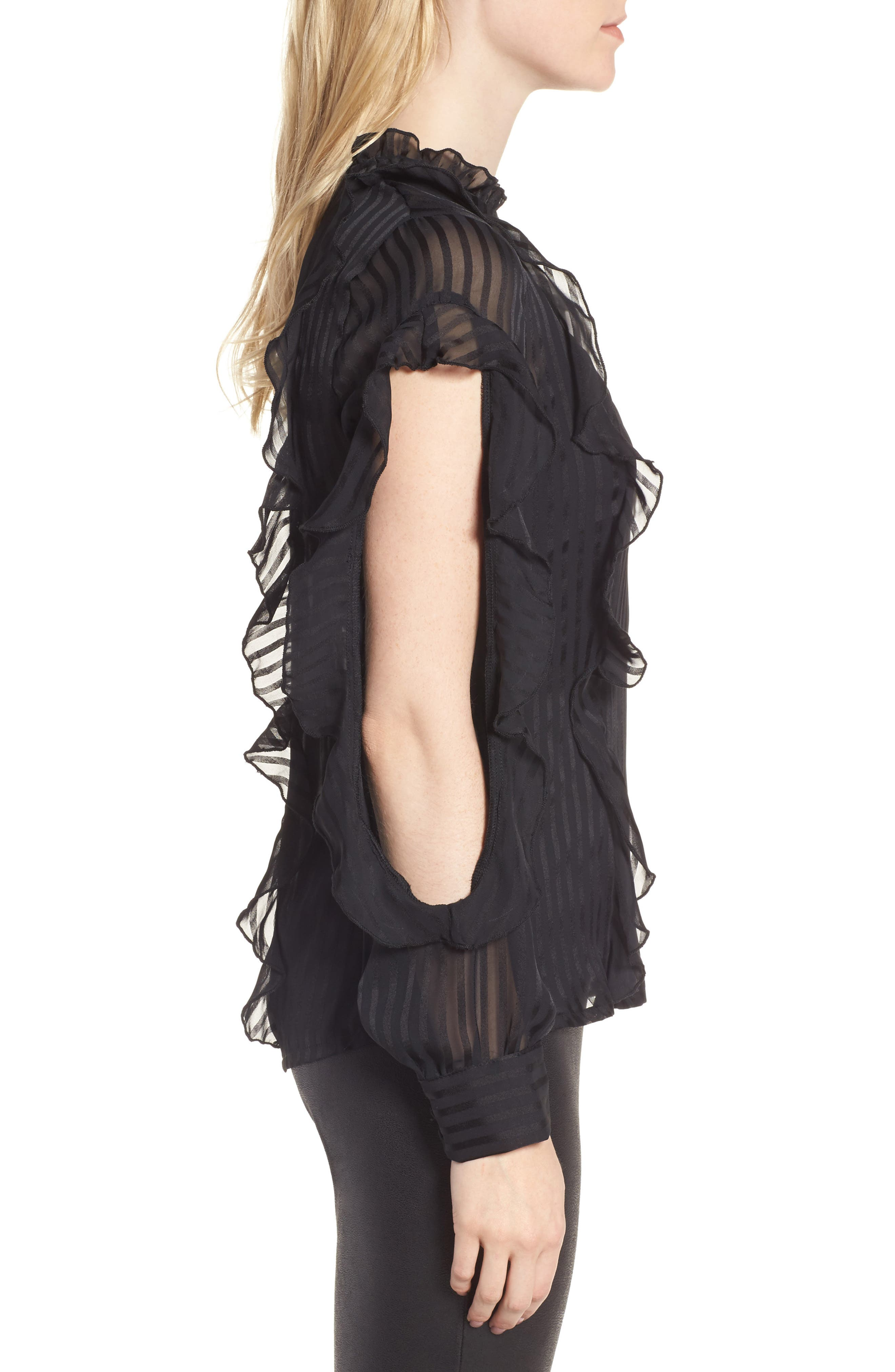 Midnight Sheer Blouse,                             Alternate thumbnail 4, color,                             Black