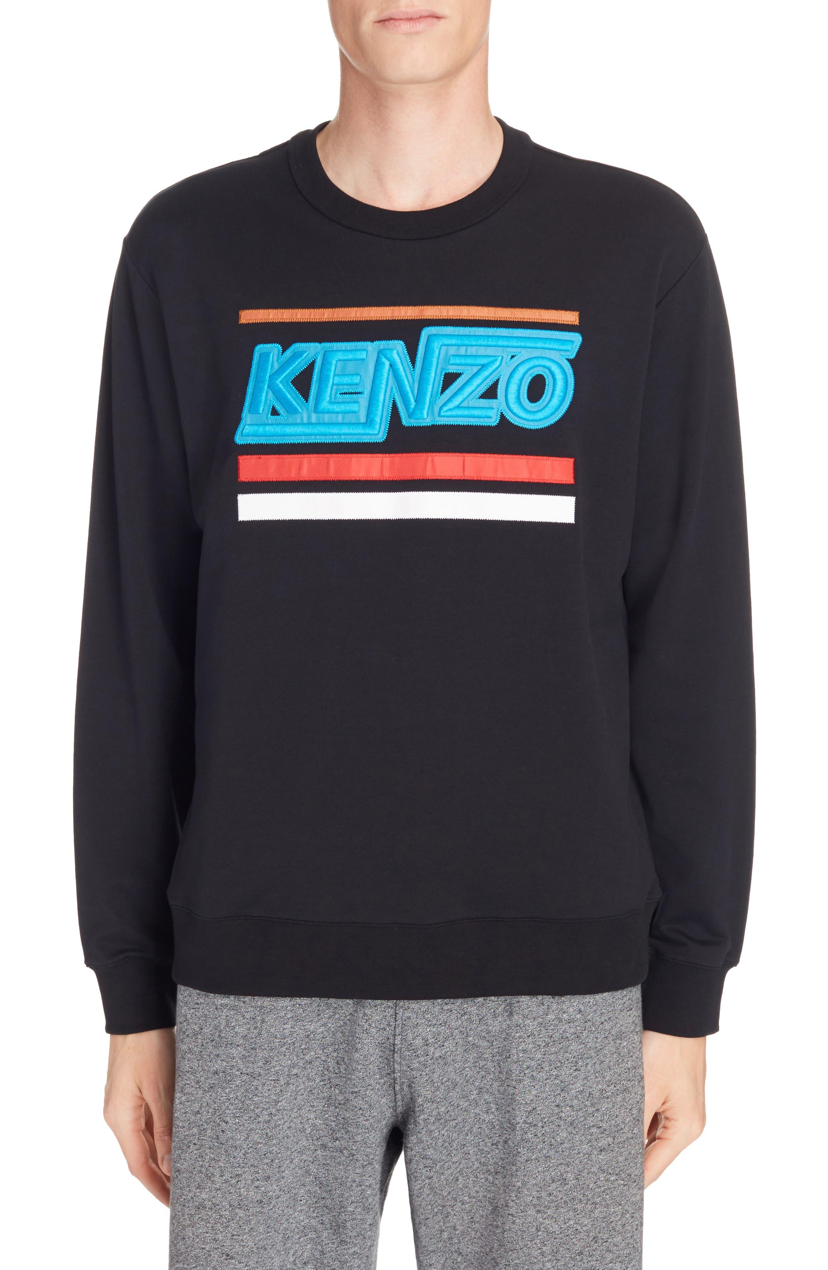 Embroidered Logo Sweatshirt,                         Main,                         color, Black