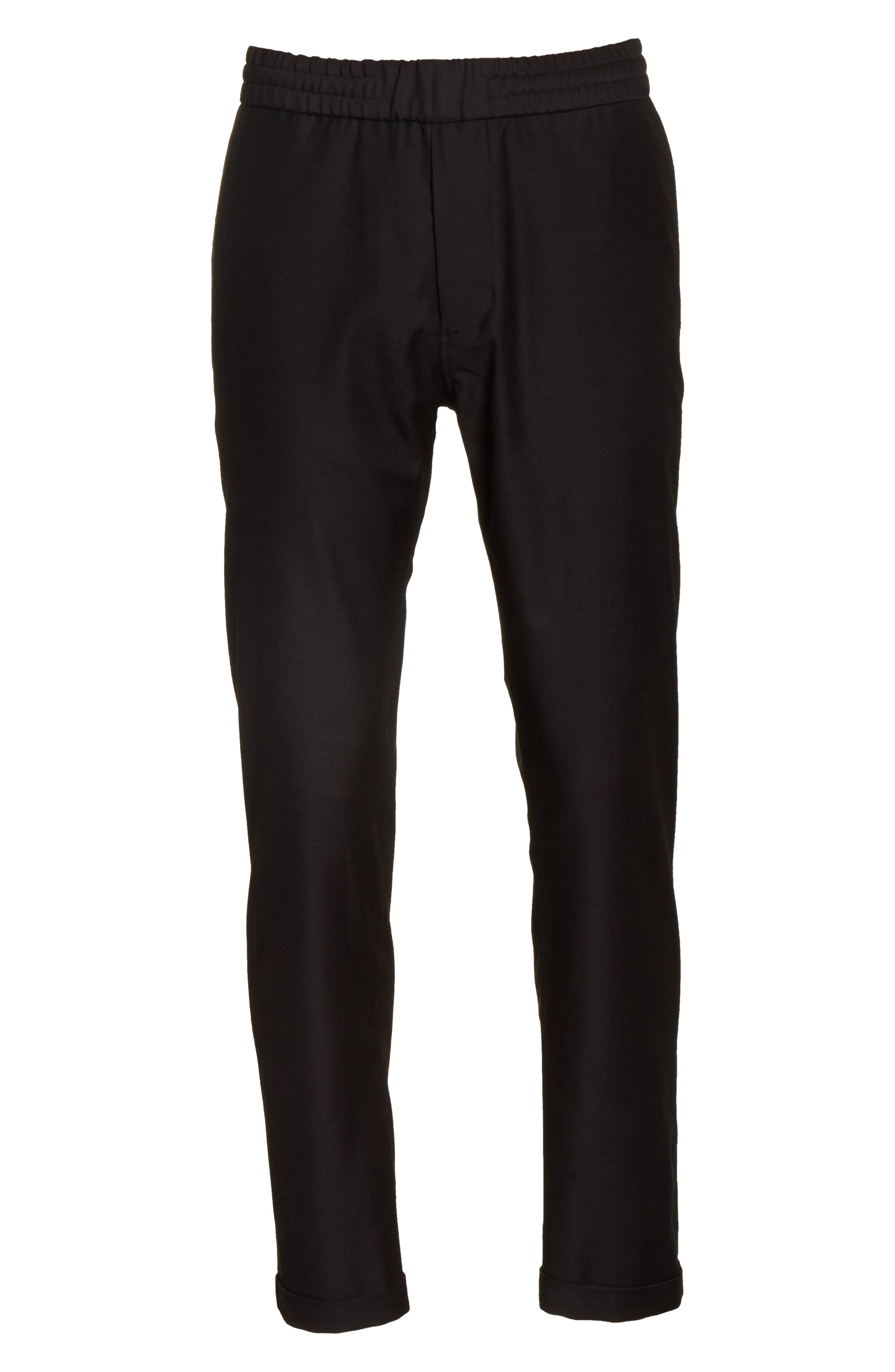 Drawstring Wool Trousers,                             Alternate thumbnail 6, color,                             Black