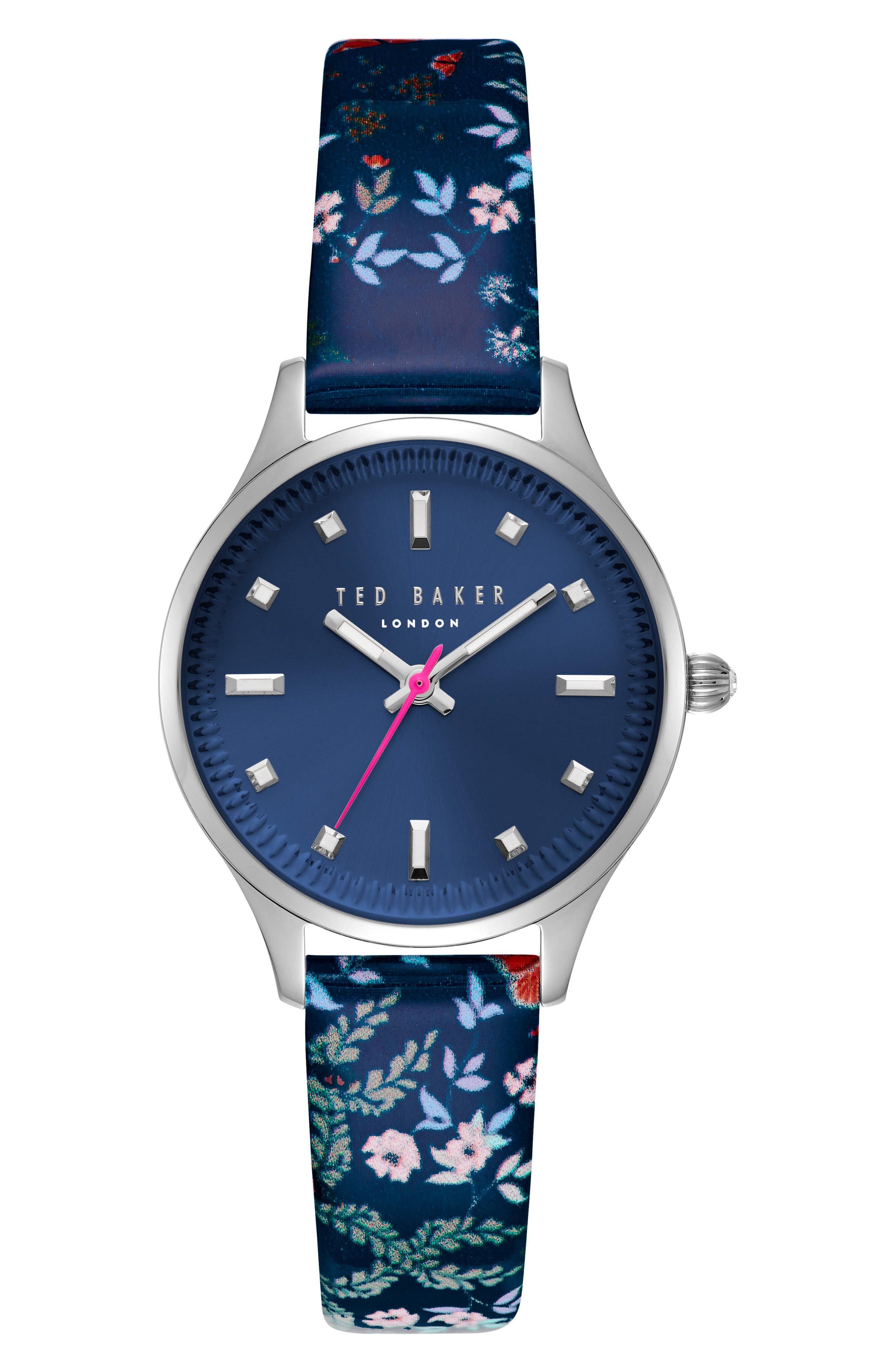 Zoe Round Leather Strap Watch, 32mm,                         Main,                         color, Blue/ Silver
