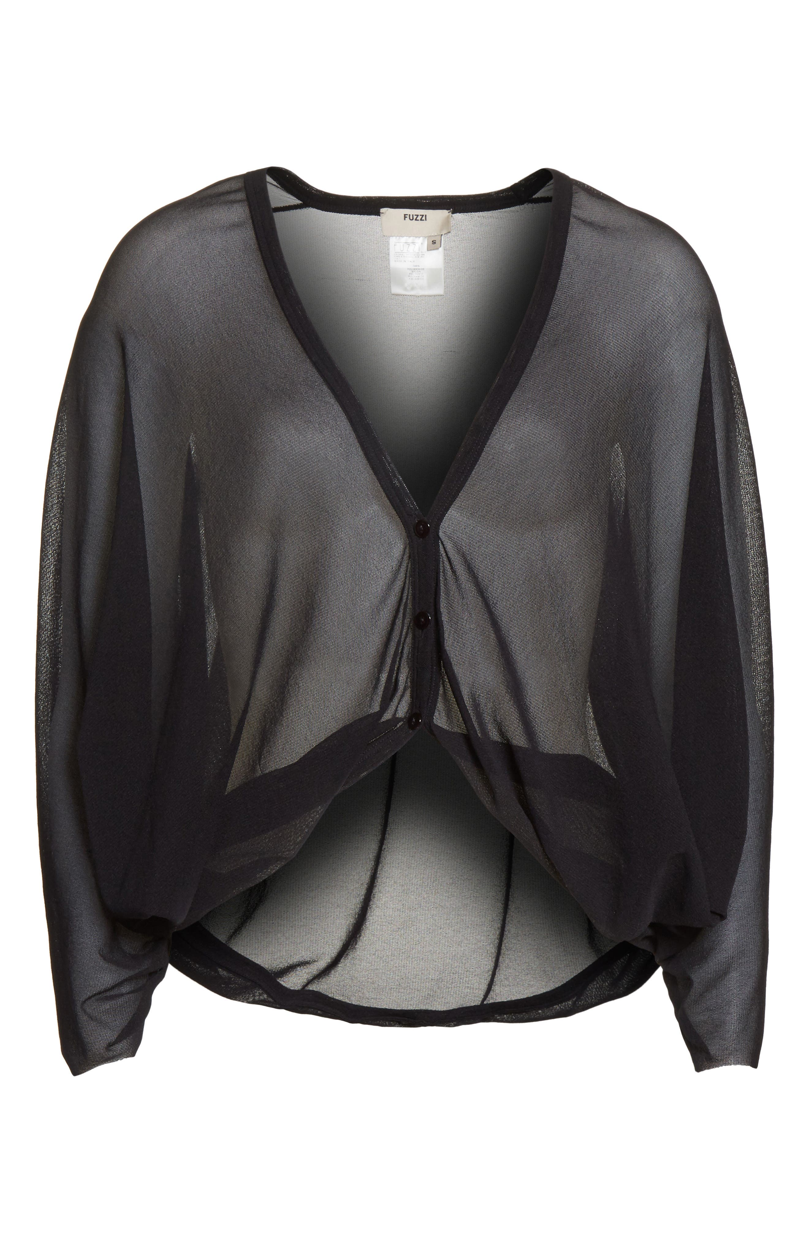 Tulle Cocoon Cardigan,                             Alternate thumbnail 7, color,                             Nero