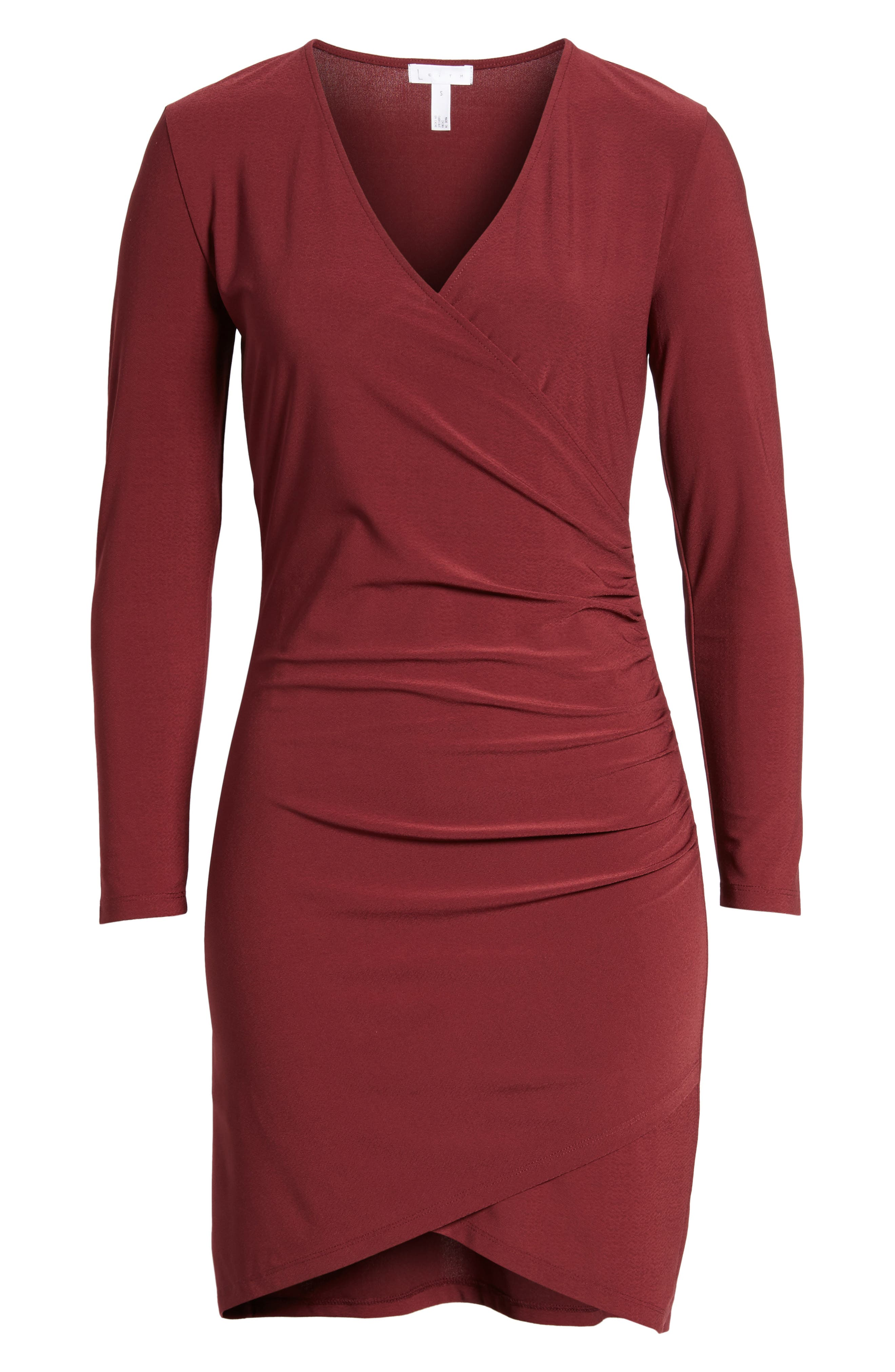 Ruched Sheath Dress,                             Alternate thumbnail 6, color,                             Red Tannin