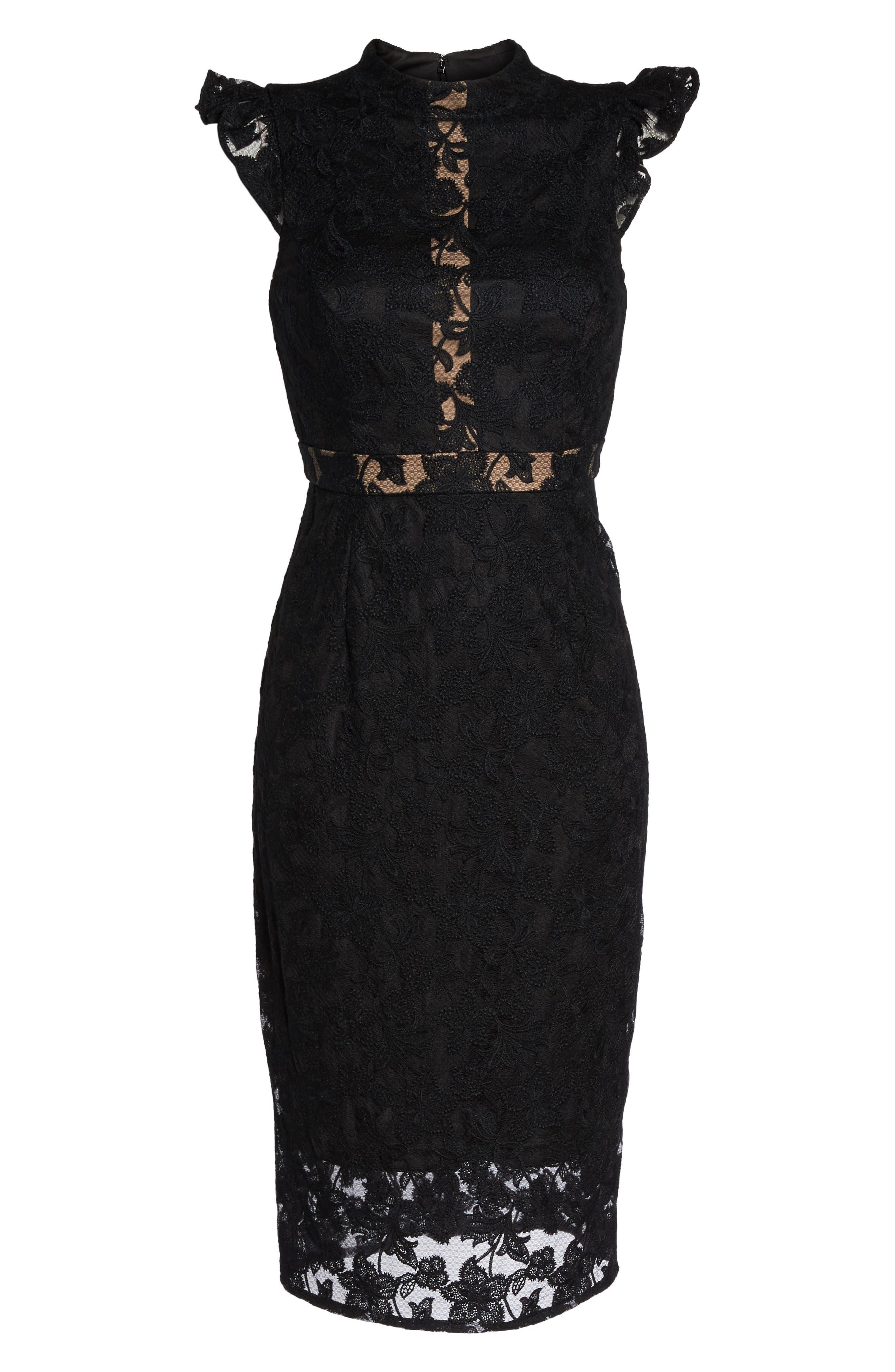 Salmone Lace Sheath Dress,                             Alternate thumbnail 6, color,                             Black/ Nude