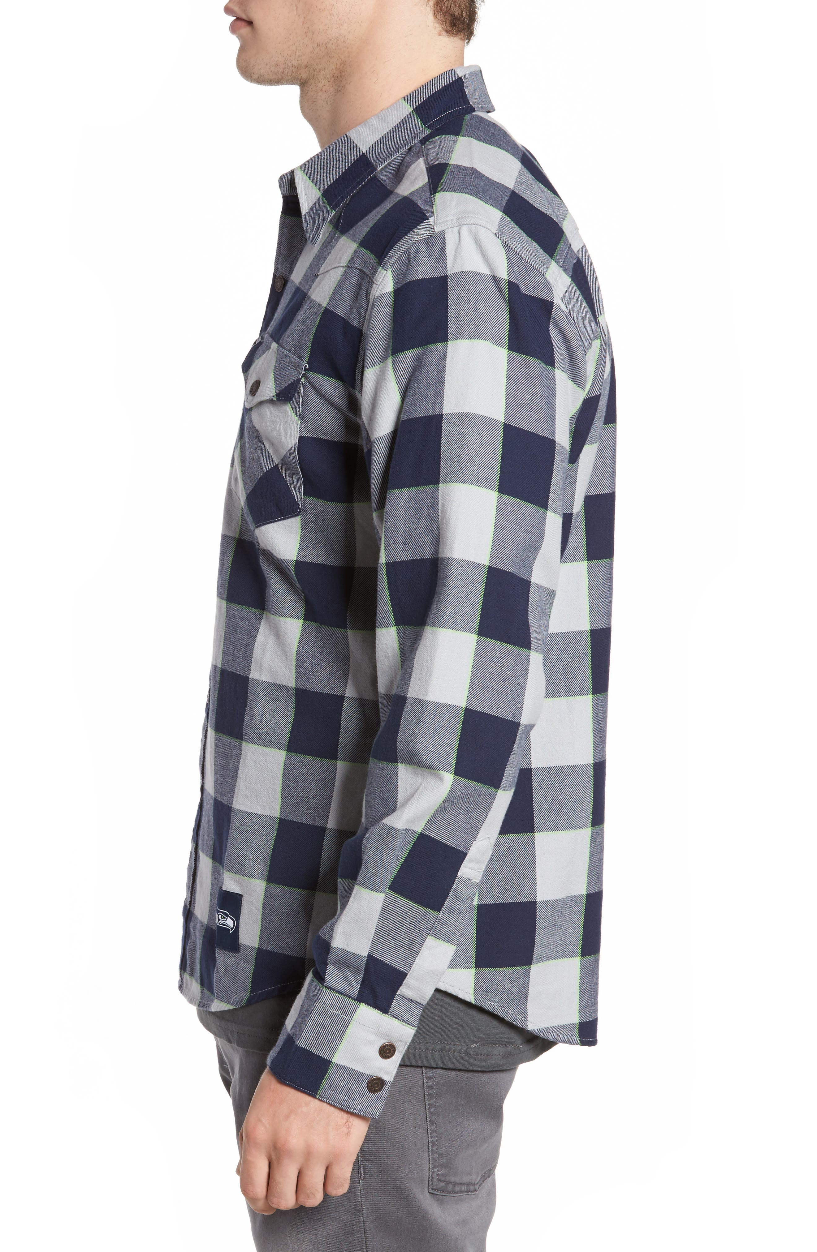 NFL Seahawks - Barstow Plaid Western Shirt,                             Alternate thumbnail 3, color,                             Blue Plaid