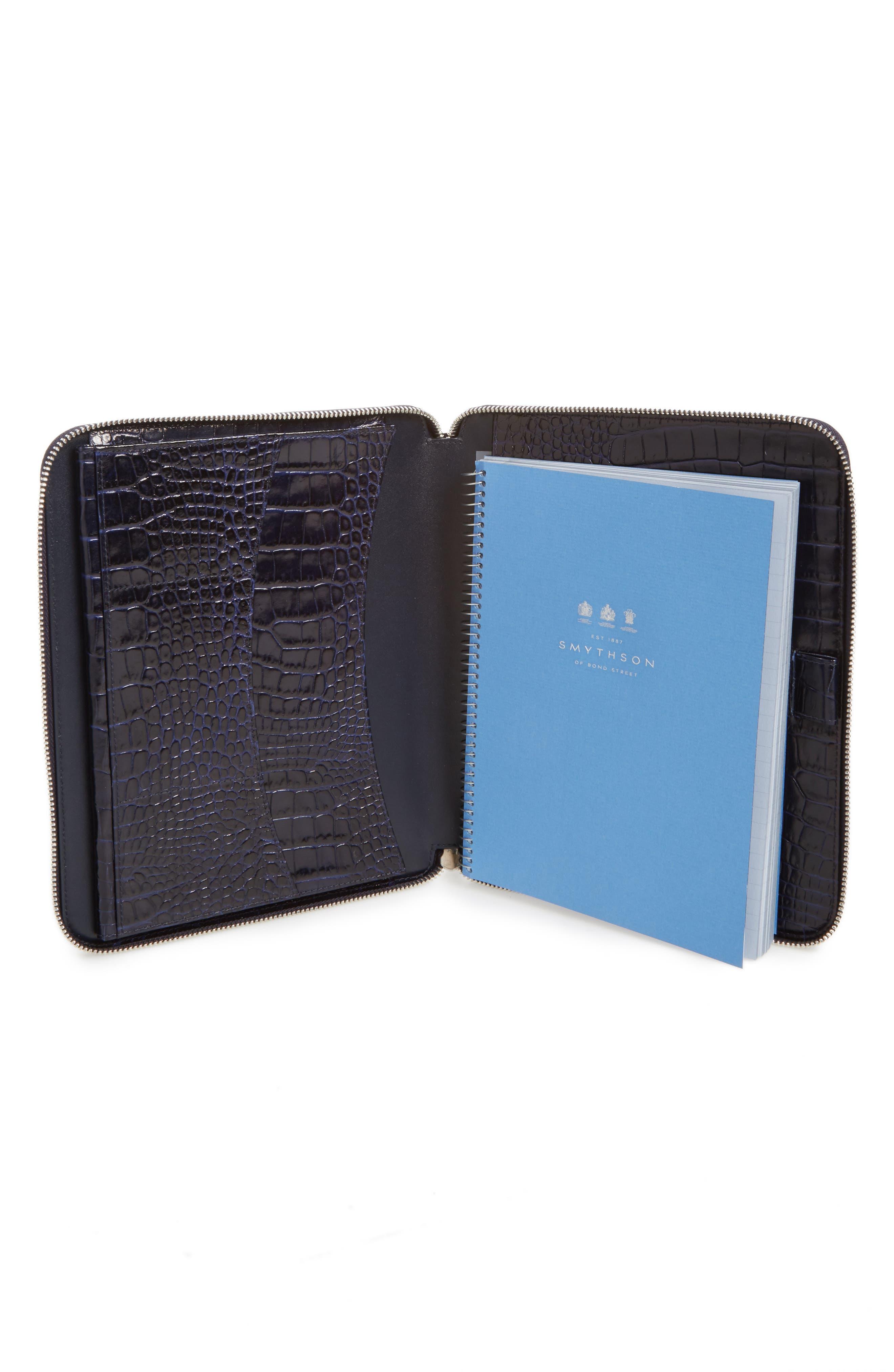 SMYTHSON Mara Croc Embossed Zip Folder & A5 Notebook - Blue JfuzYpfva