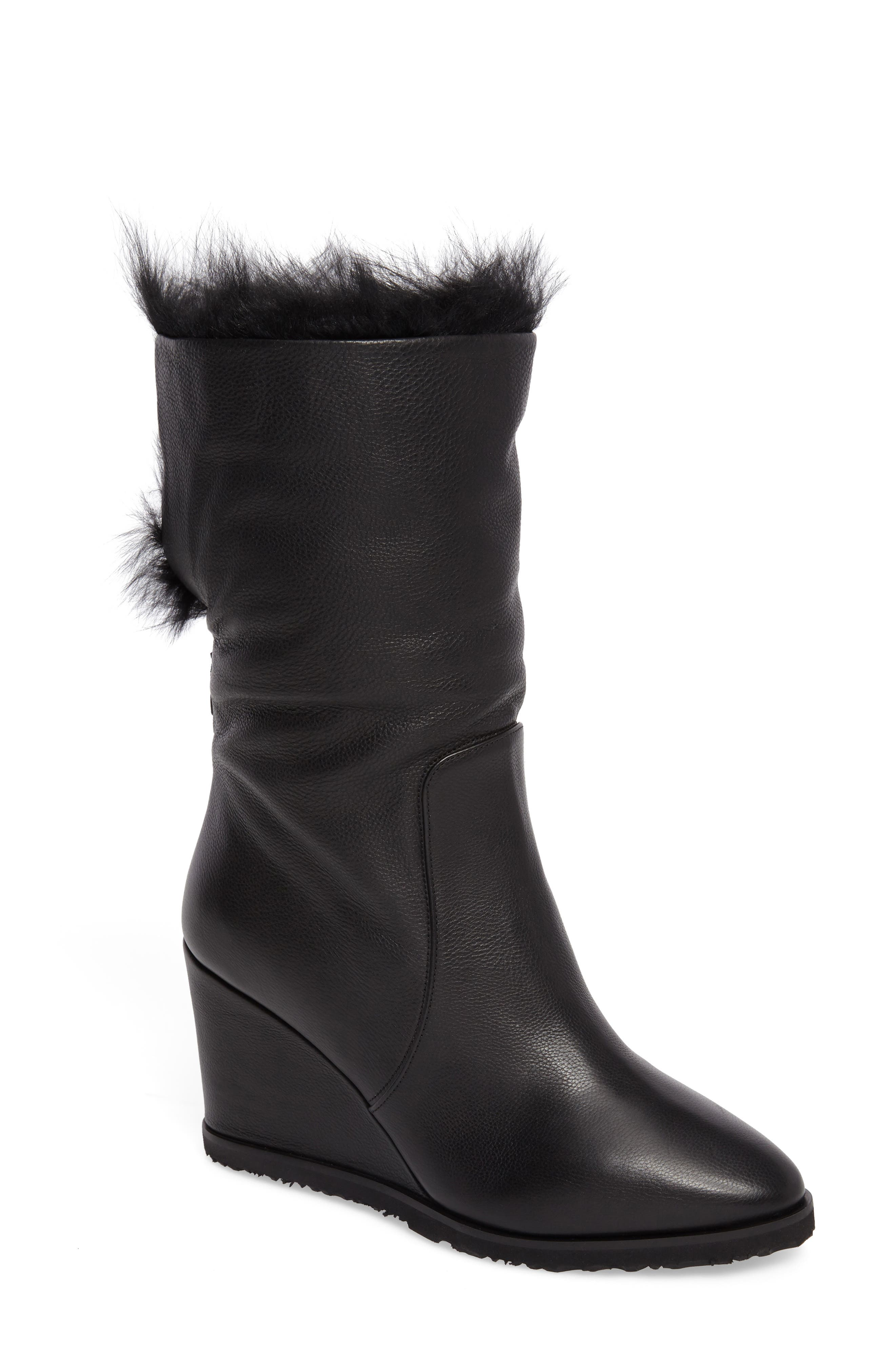 Massima Genuine Shearling Wedge Boot,                             Main thumbnail 1, color,                             Black Leather