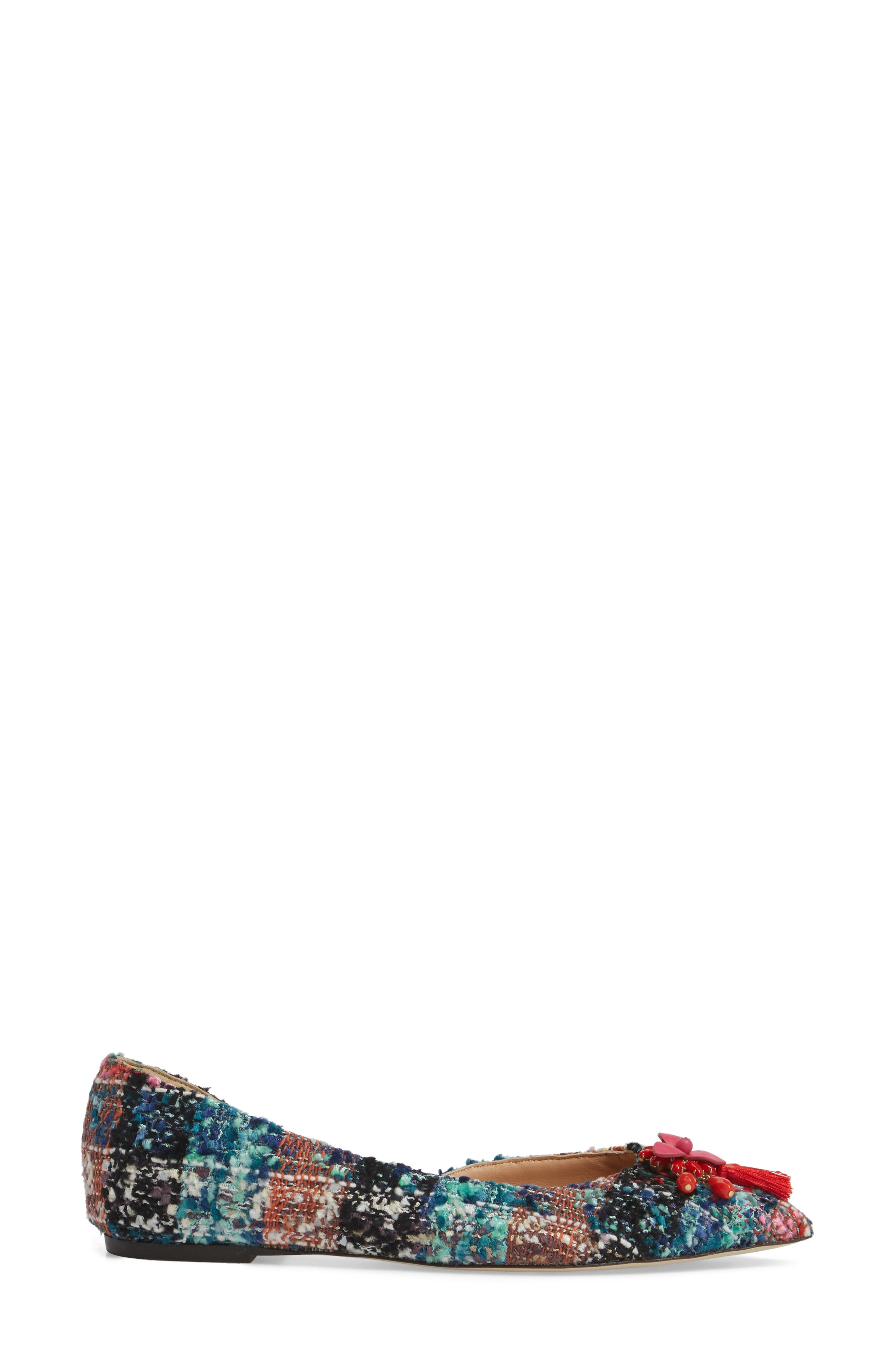 Sadie Pointy Toe Flat,                             Alternate thumbnail 3, color,                             Sundrenched Spearmint Fabric