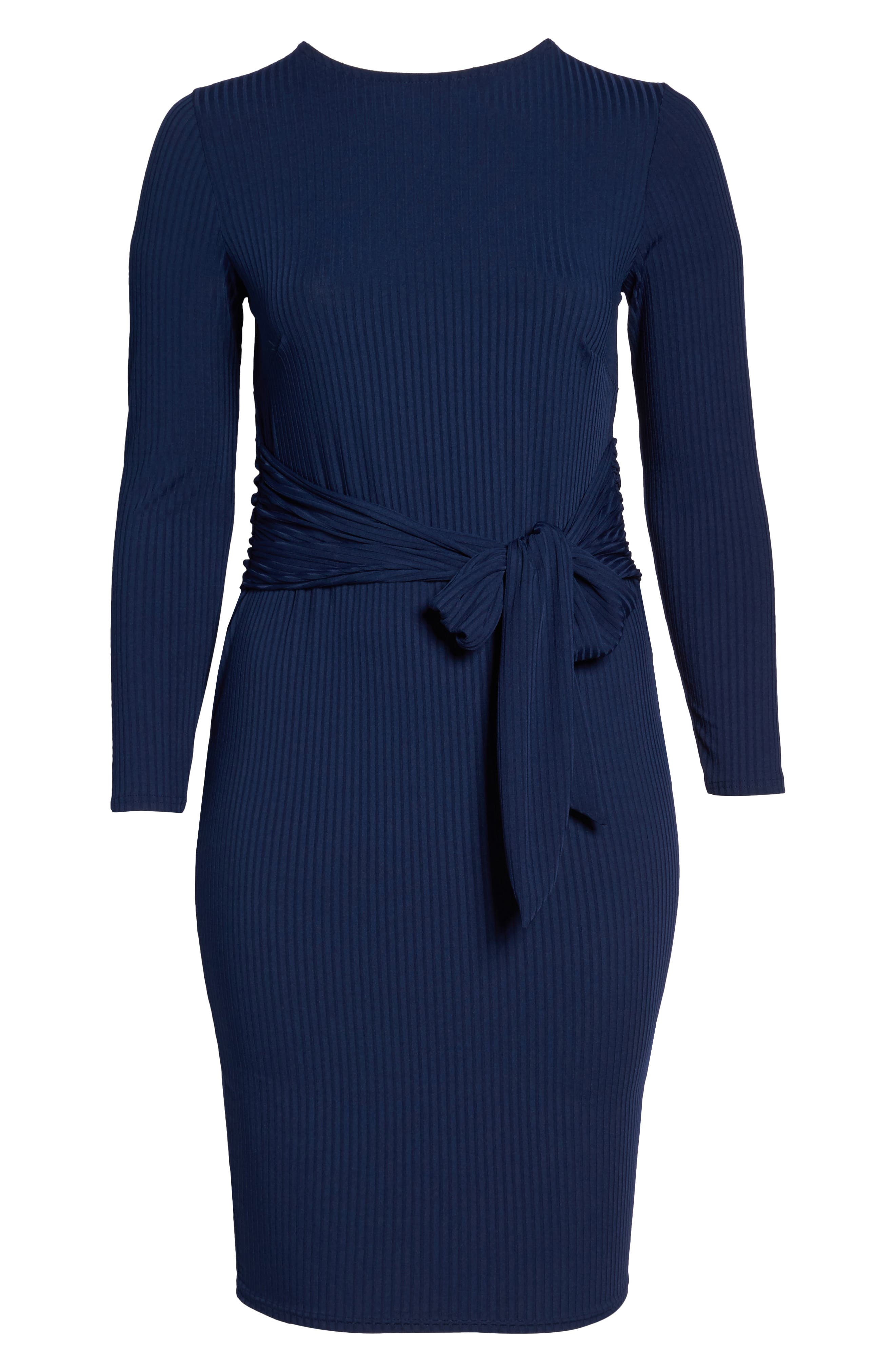 Tie Front Ribbed Sheath Dress,                             Alternate thumbnail 8, color,                             Navy