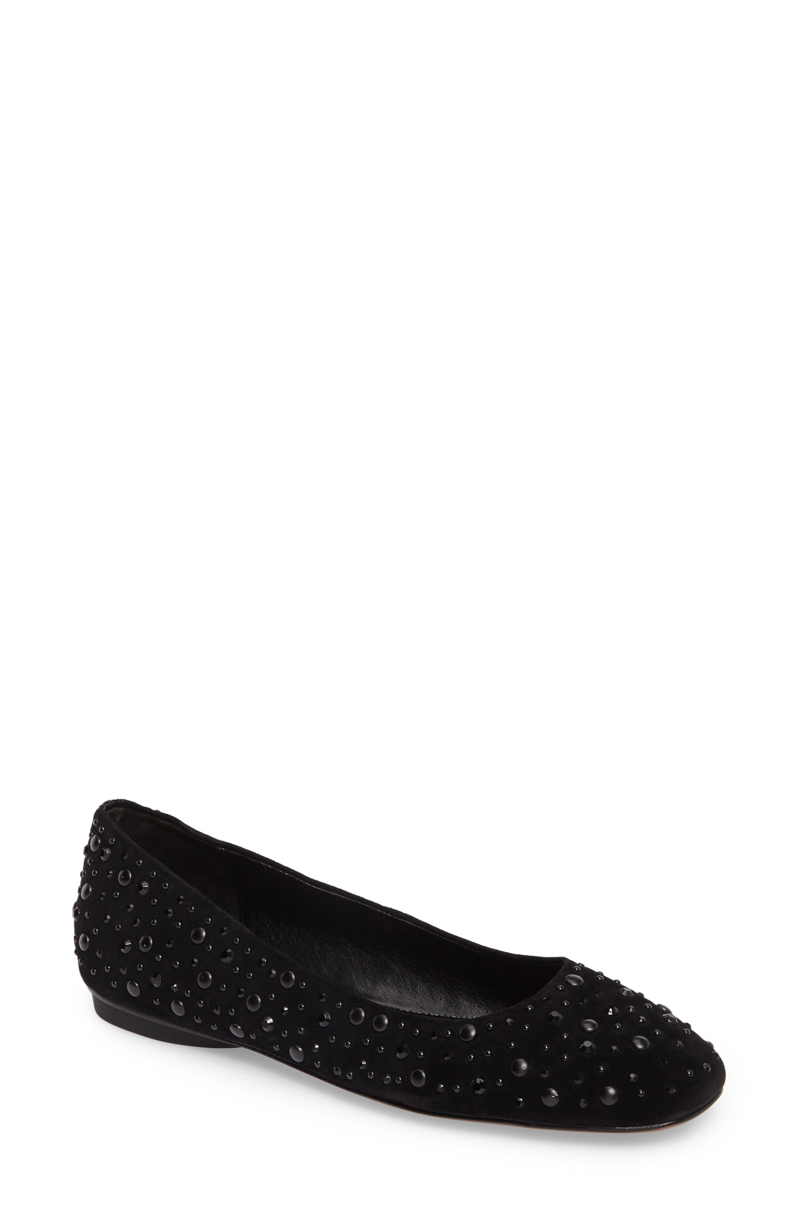 Dora Skimmer Flat,                         Main,                         color, Black Leather