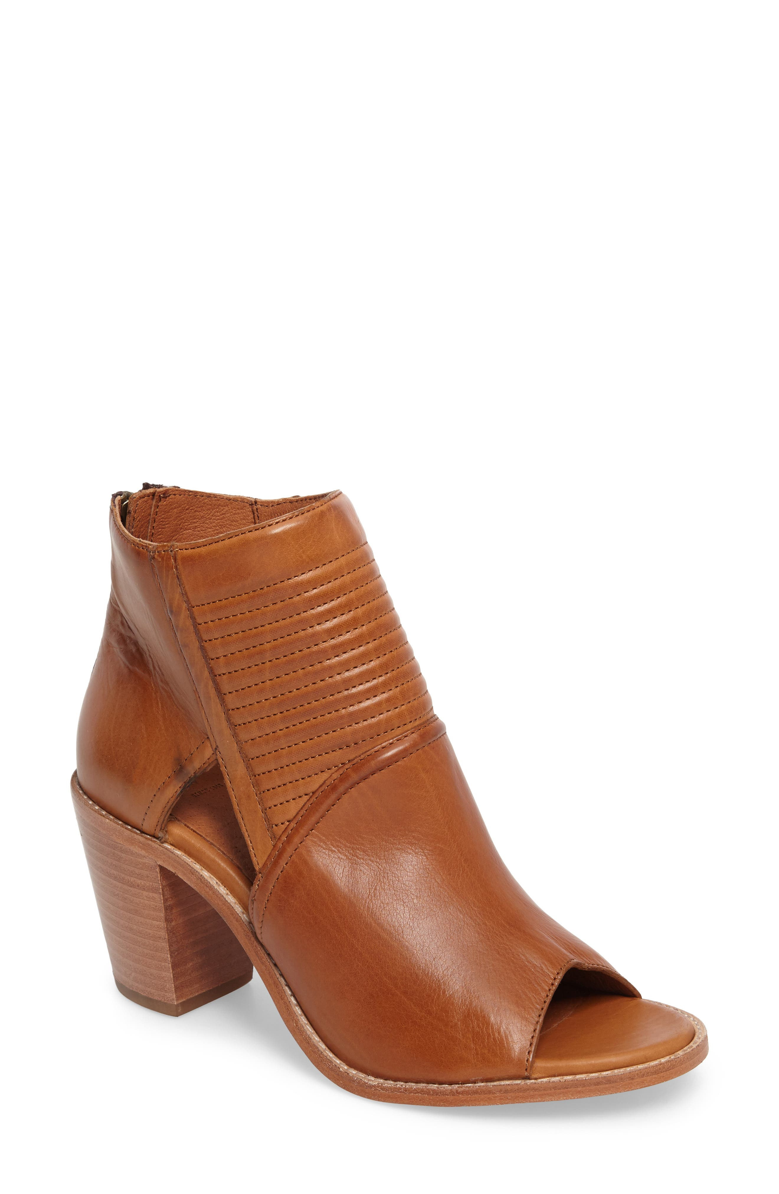 Bailey Quilted Peep Toe Bootie,                             Main thumbnail 1, color,                             Cognac