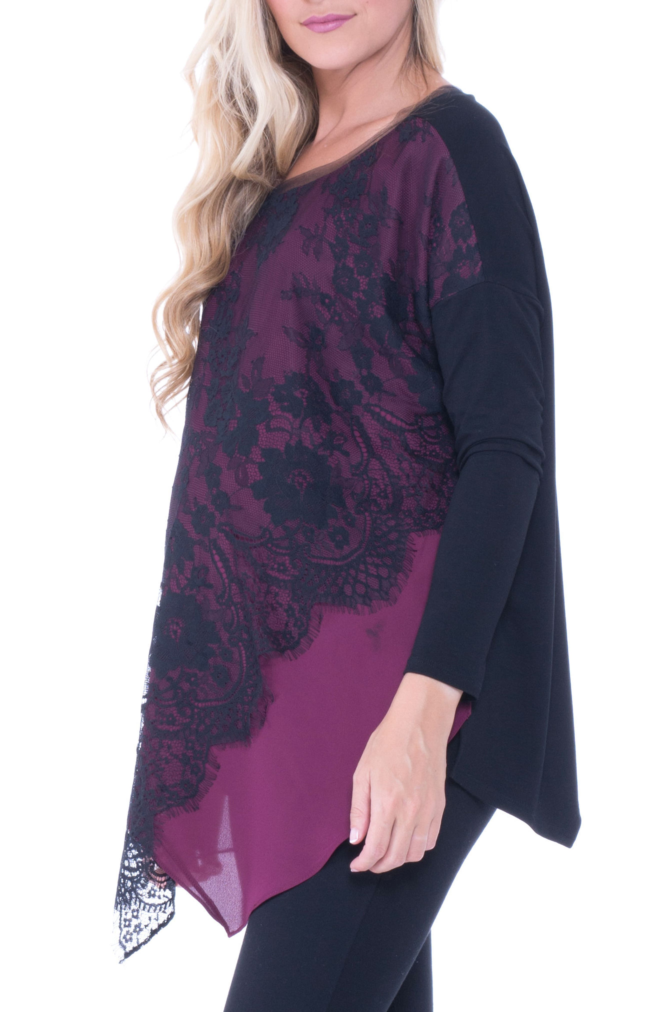 Bernadine Lace Overlay Maternity Top,                             Alternate thumbnail 3, color,                             Burgundy