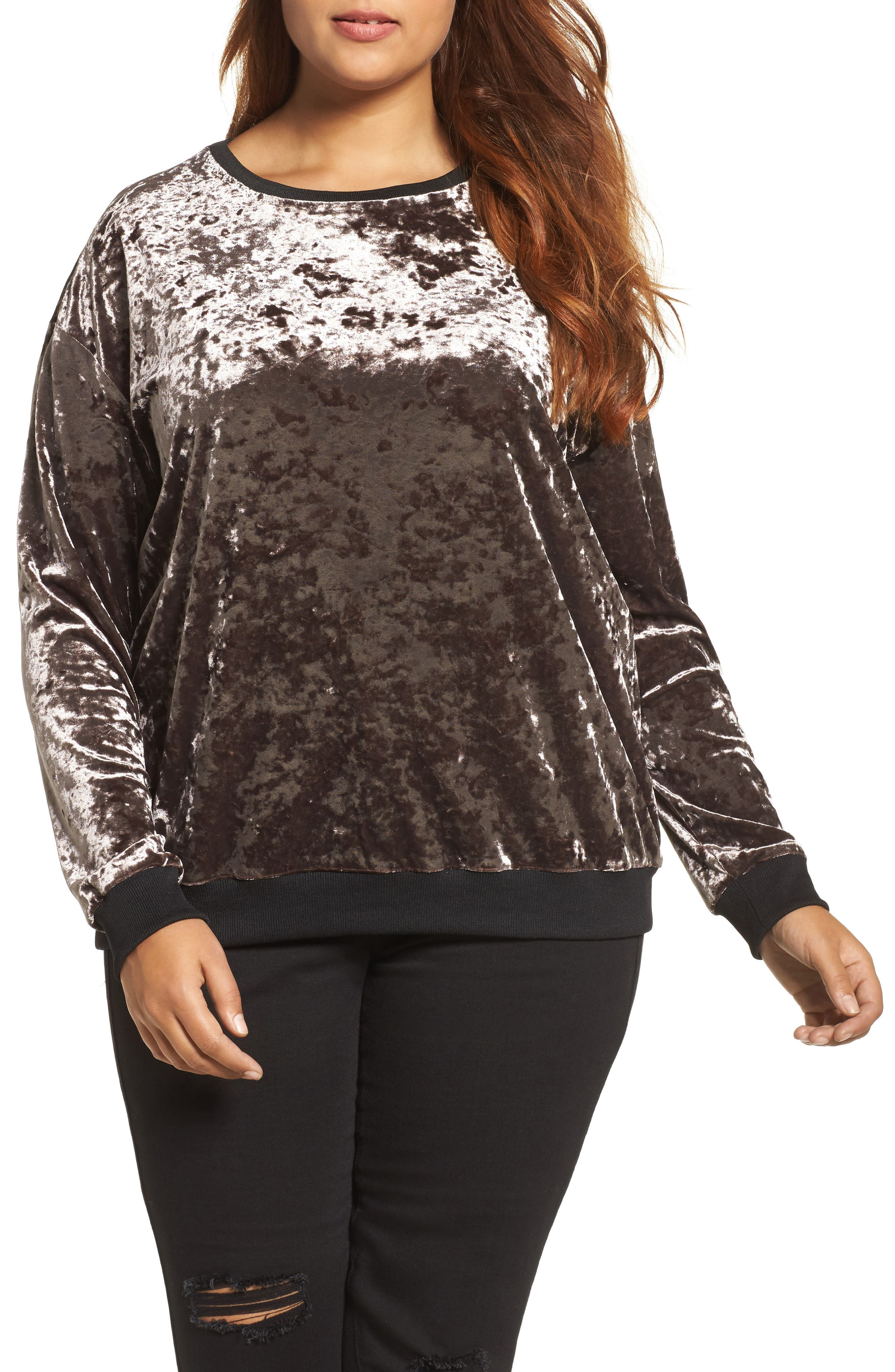 Crushed Velvet Sweater,                         Main,                         color, Mauve
