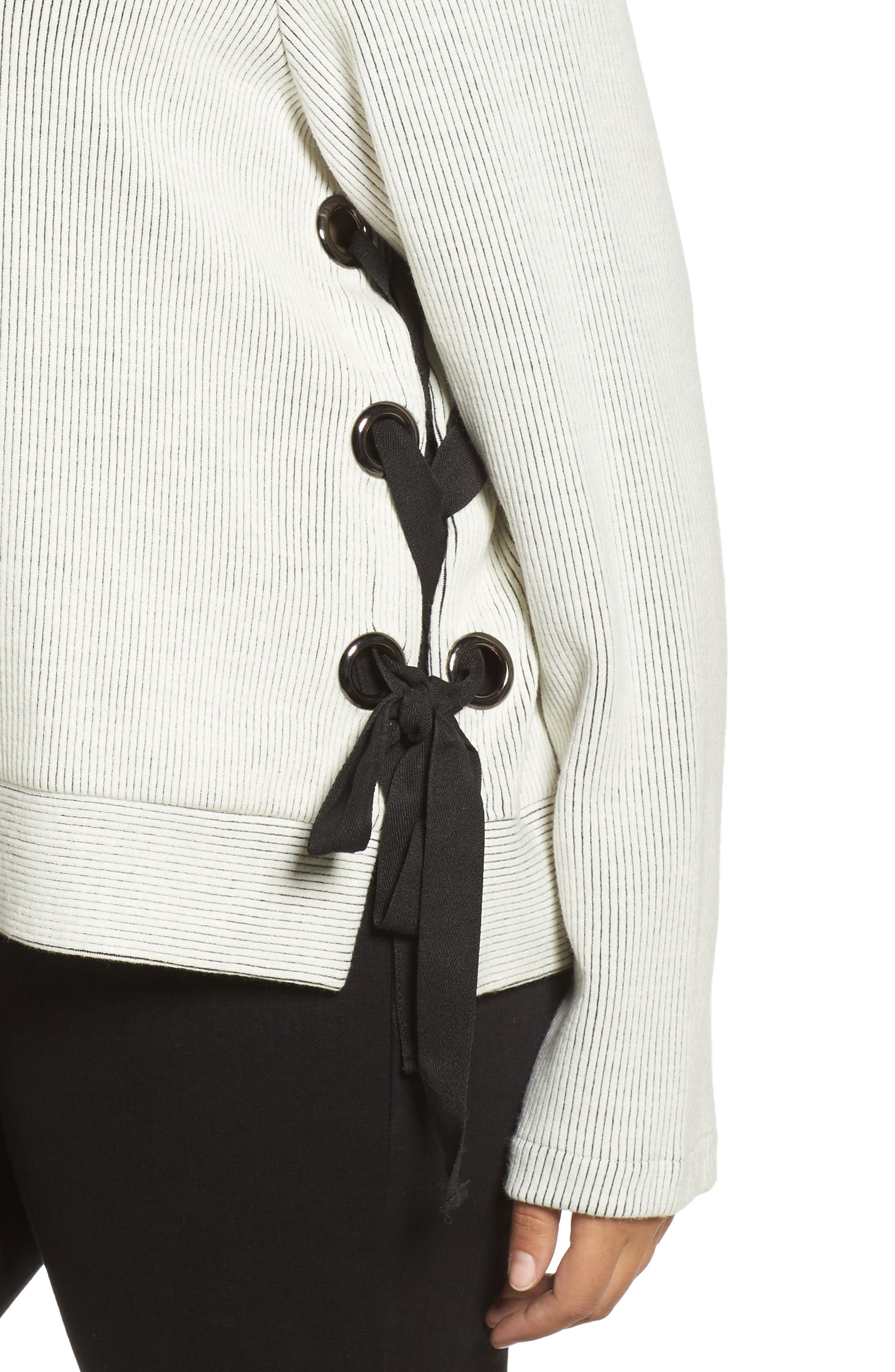 Alternate Image 4  - ELVI Ribbed Eyelet Sweater (Plus Size)