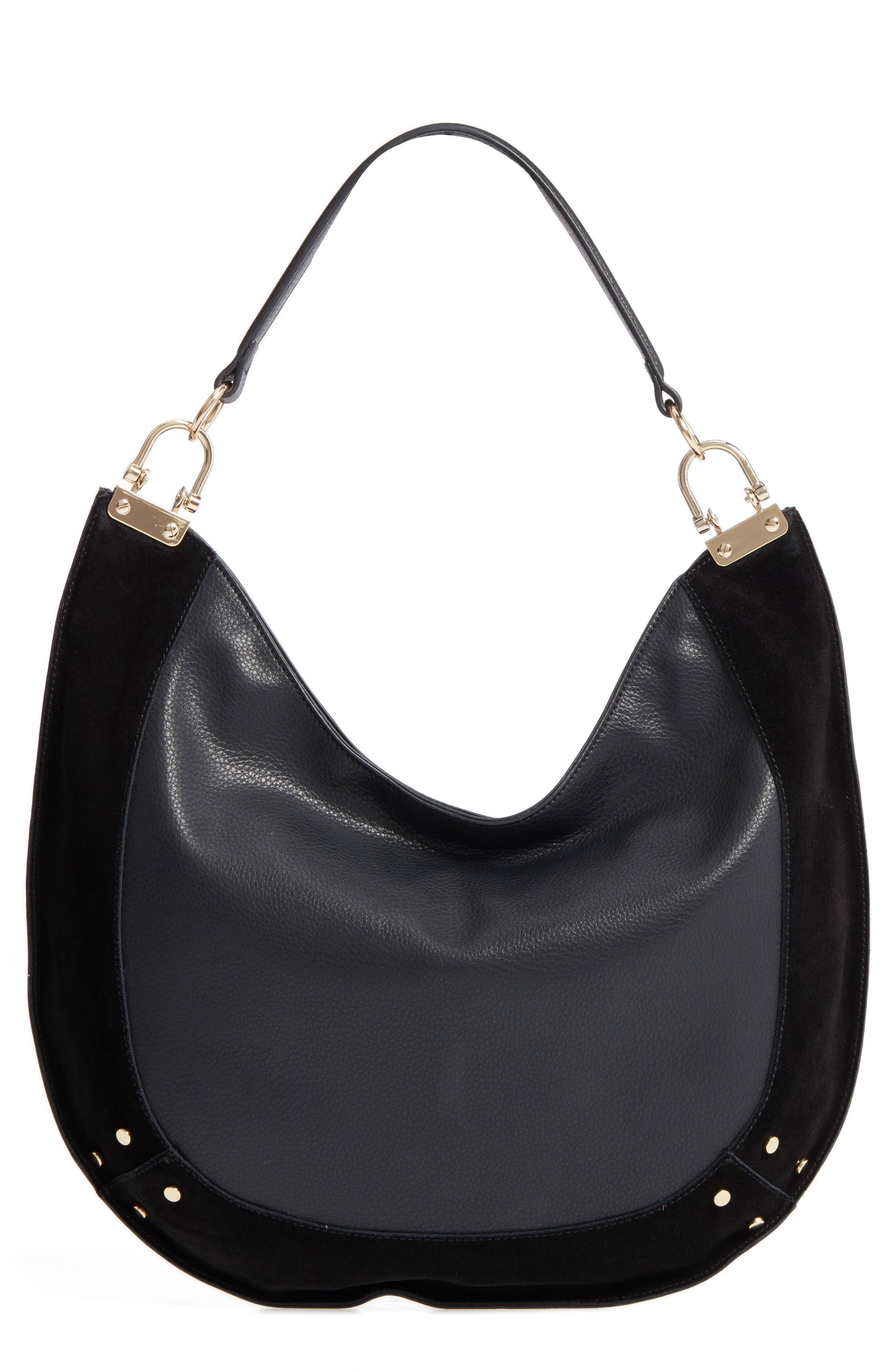 Main Image - Sole Society Blaine Suede Trim Faux Leather Hobo