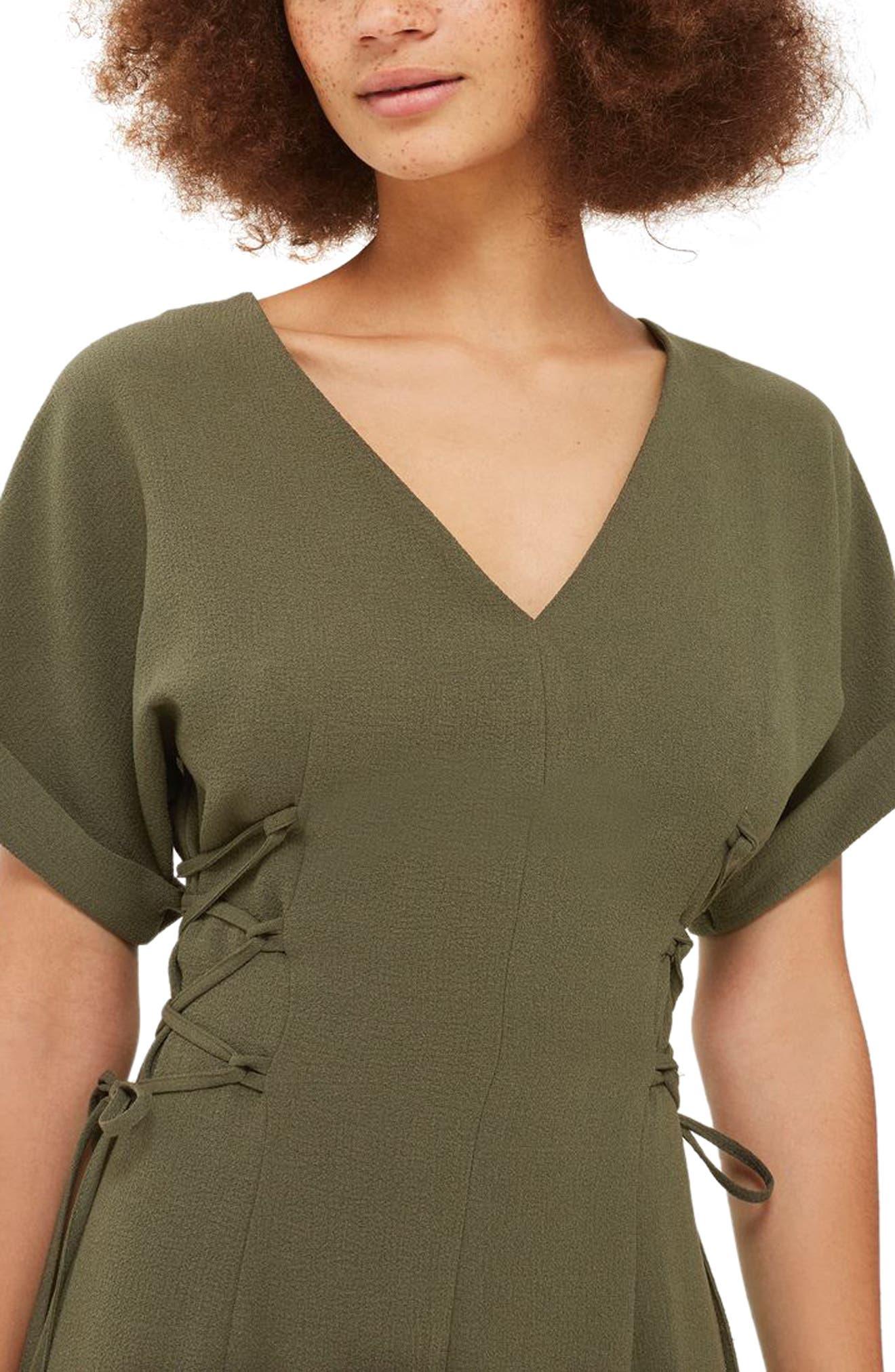 Corset Side Midi Dress,                             Alternate thumbnail 2, color,                             Olive