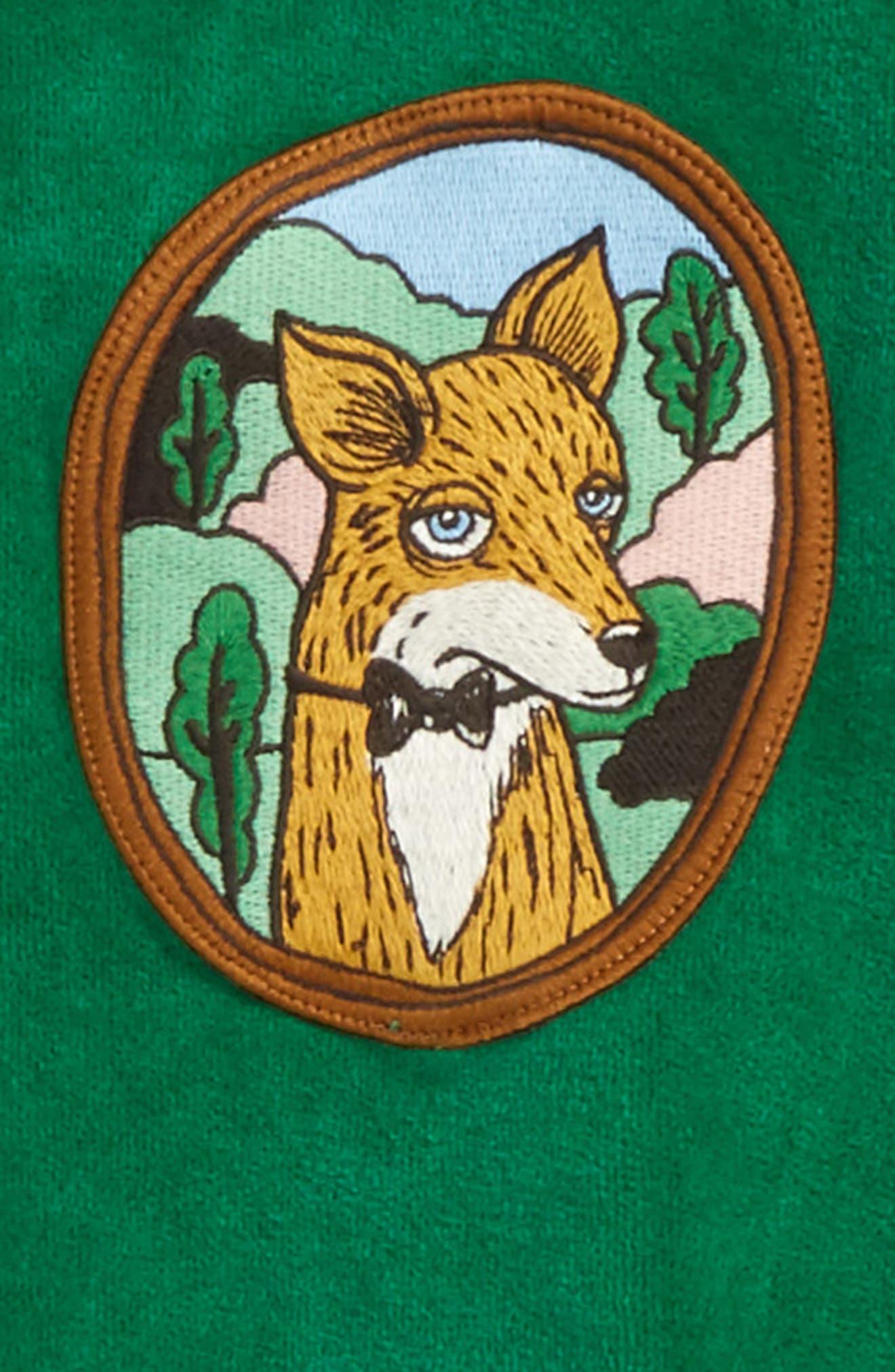 Alternate Image 2  - Mini Rodini Fox Patch Velour Sweatshirt (Toddler Boys & Little Boys)