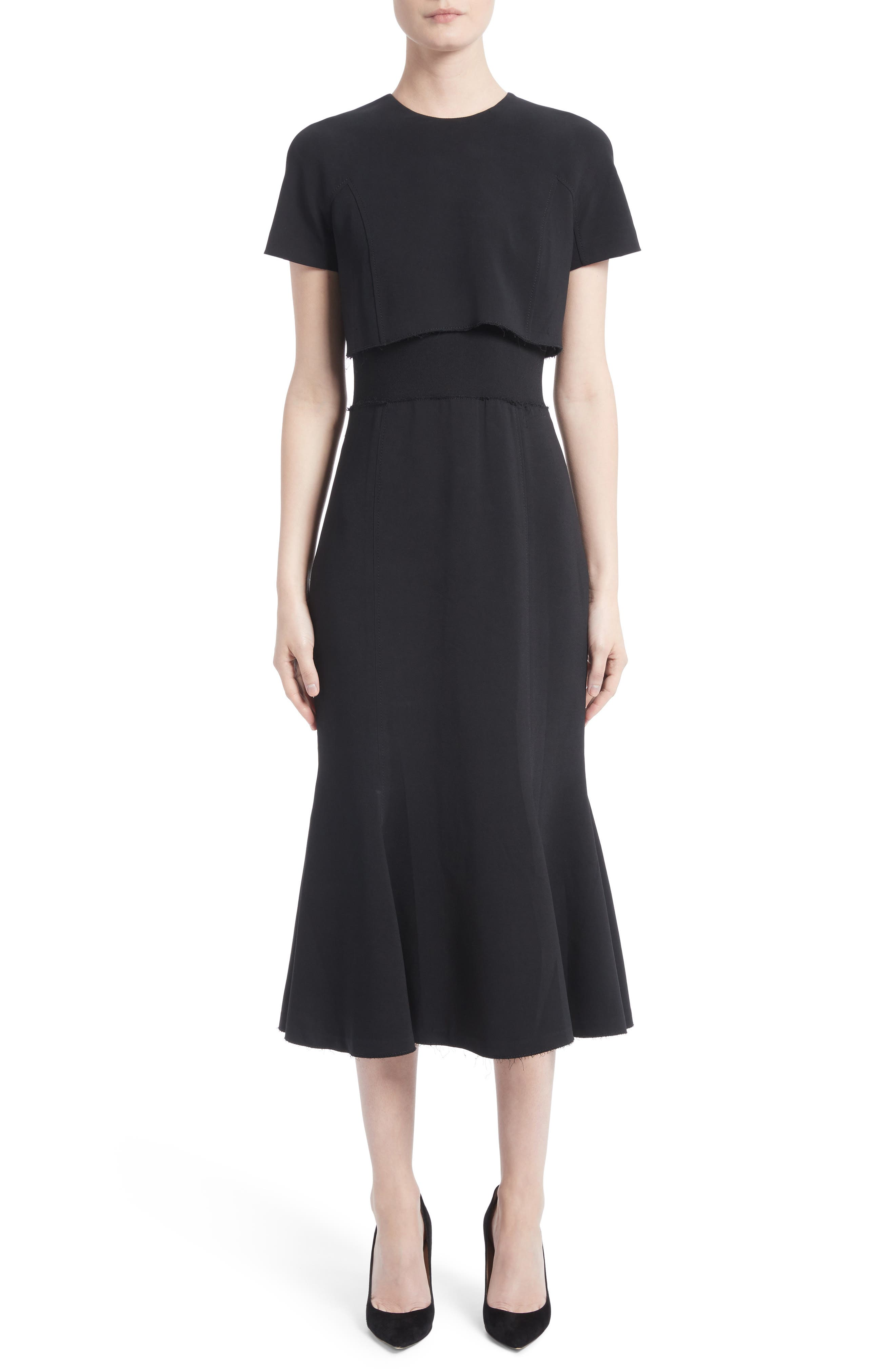 Raw Hem Panel Cady Dress,                         Main,                         color, Black