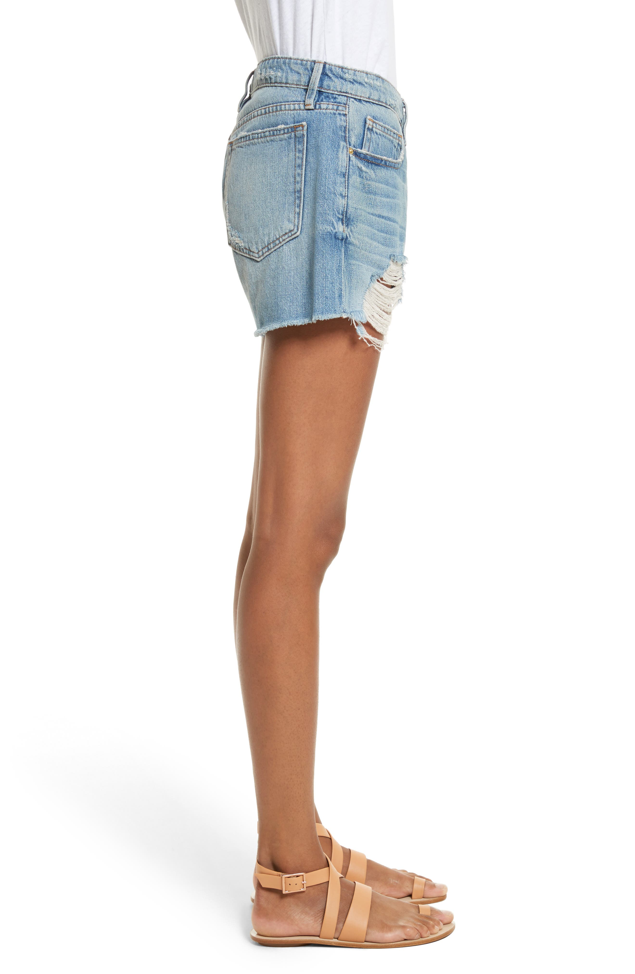 Le Grand Garçon Cutoff Denim Shorts,                             Alternate thumbnail 3, color,                             Albion