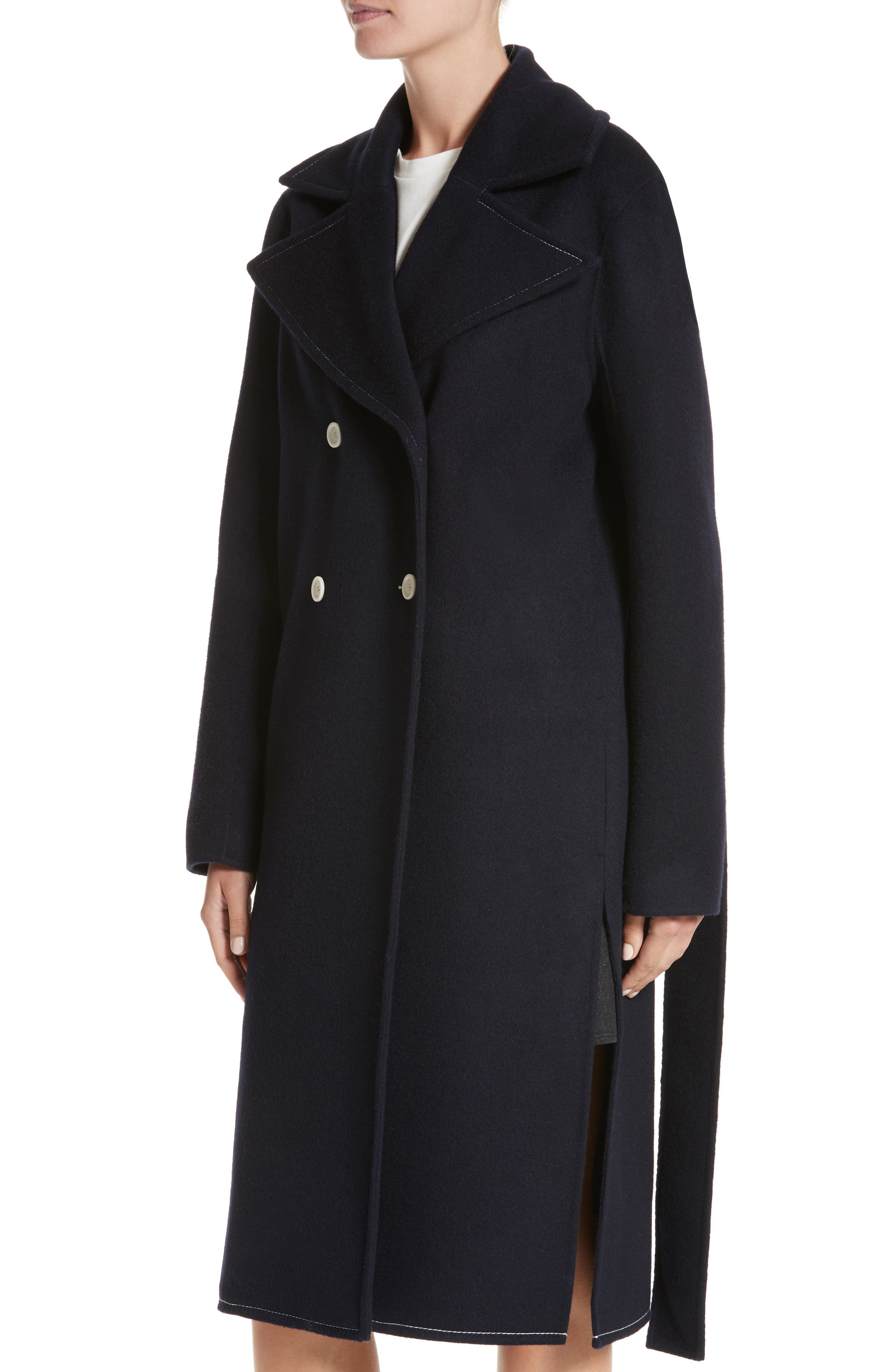 Double Breasted Wool Blend Coat,                             Alternate thumbnail 4, color,                             Wool Navy