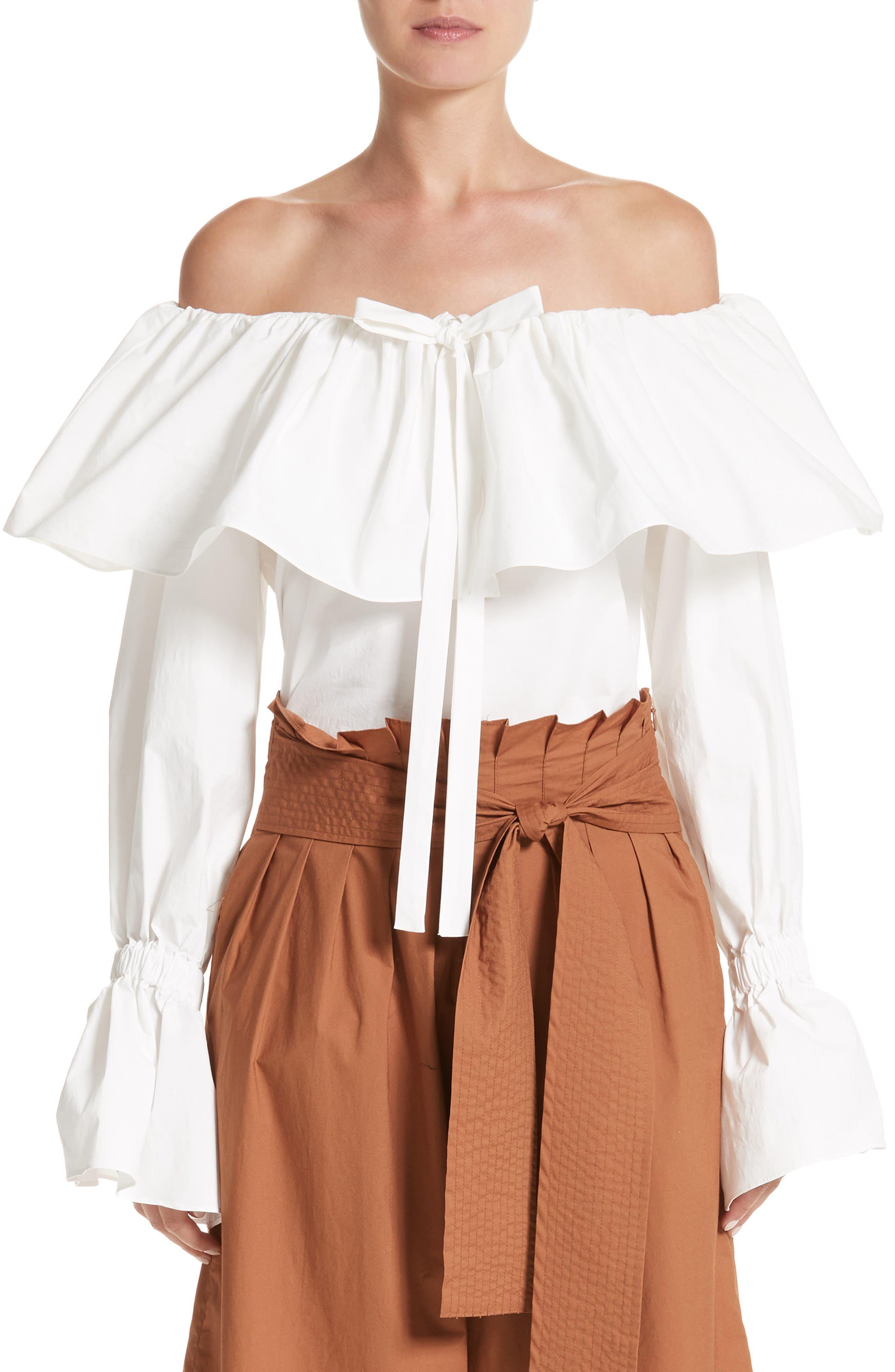 Off the Shoulder Poplin Top,                         Main,                         color, Cotton Poplin Off-White