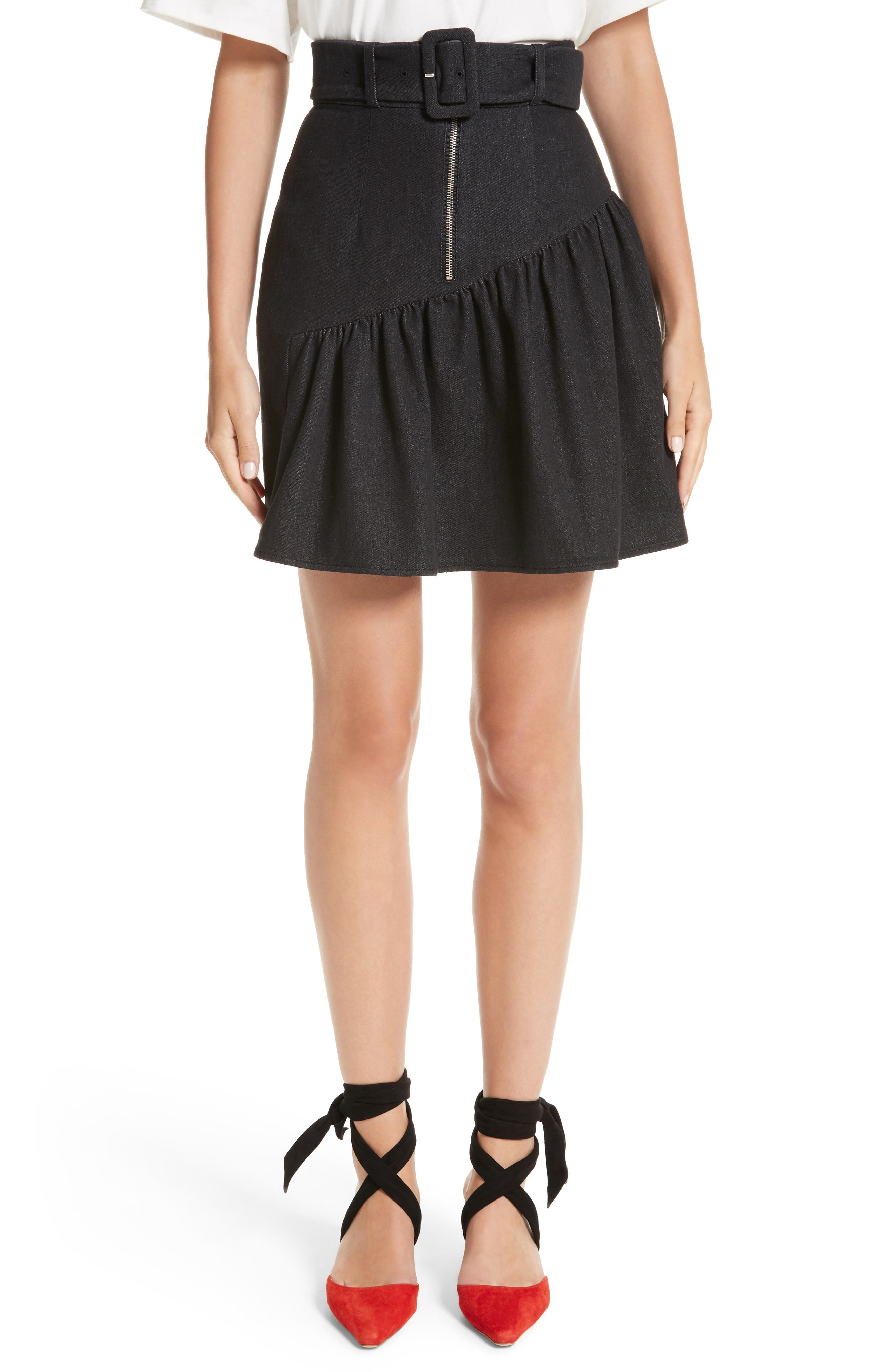 Belted Ruffle Denim Miniskirt,                         Main,                         color, Cotton Denim Black